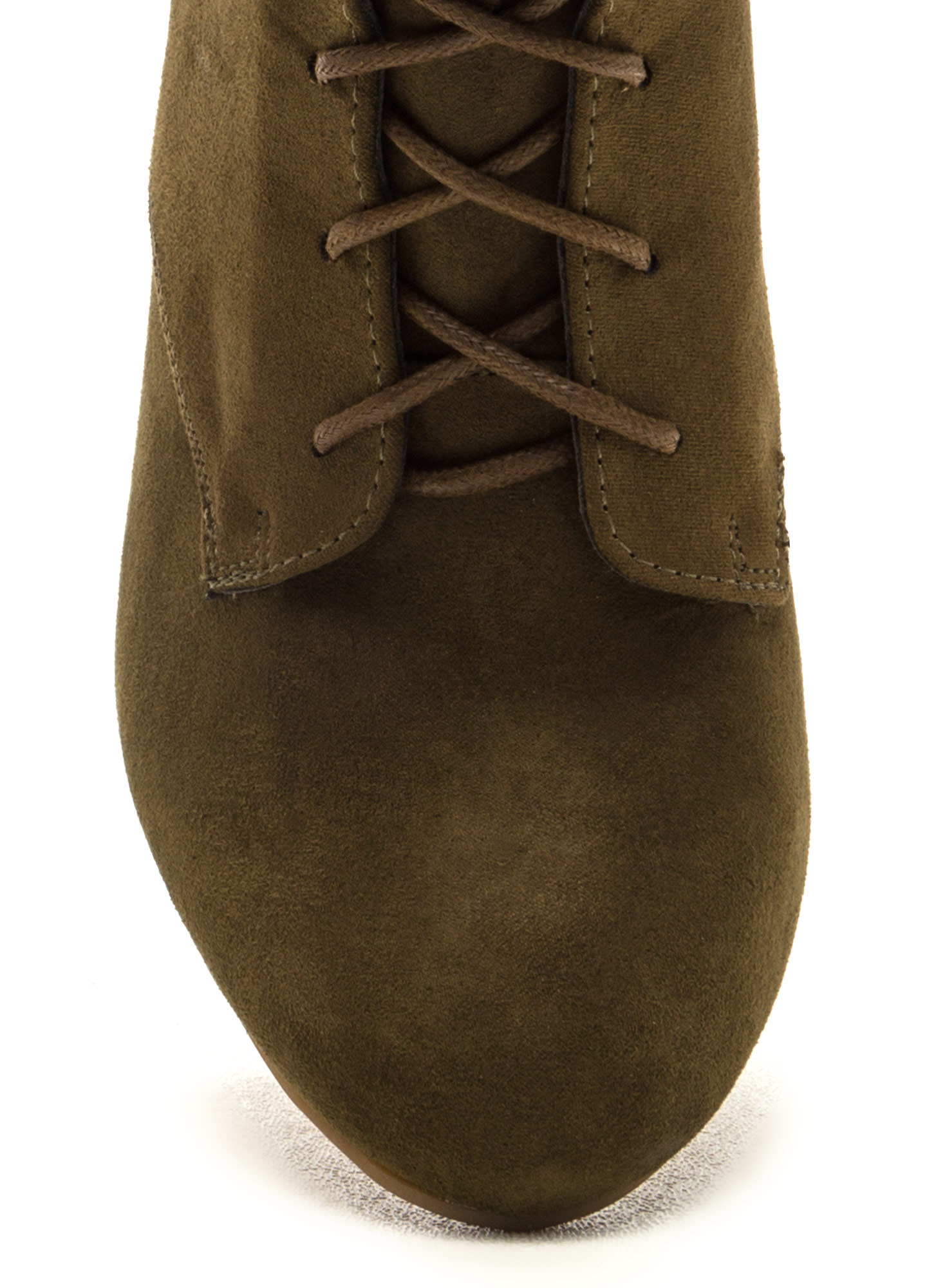 Supreme Strut Faux Suede Lace-Up Booties OLIVE