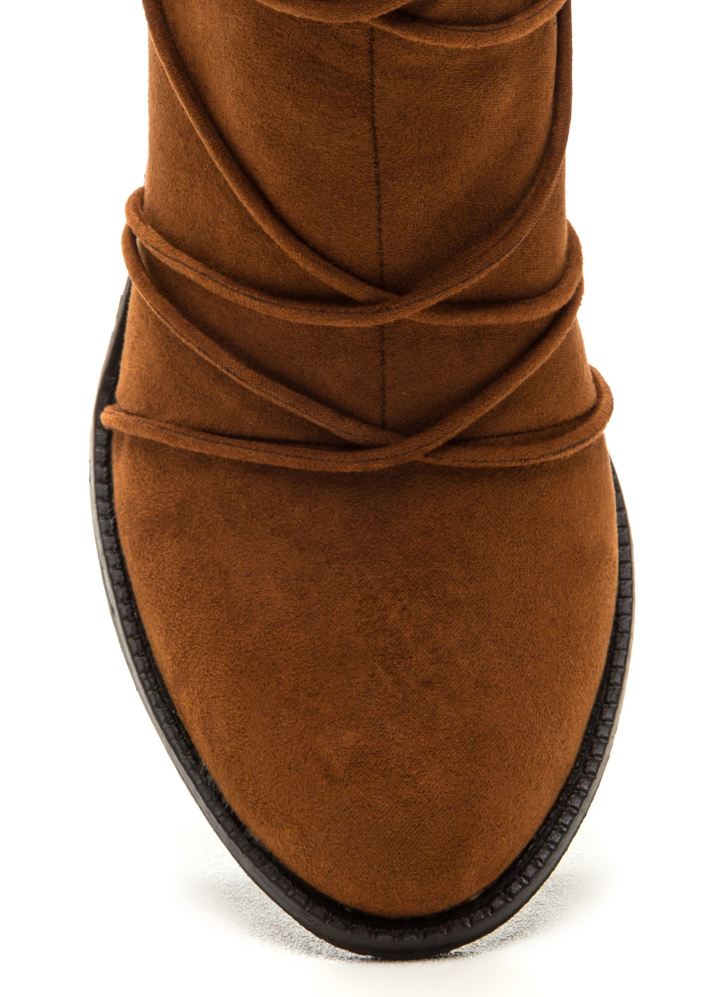 Any Way You Lace It Chunky Booties CHESTNUT