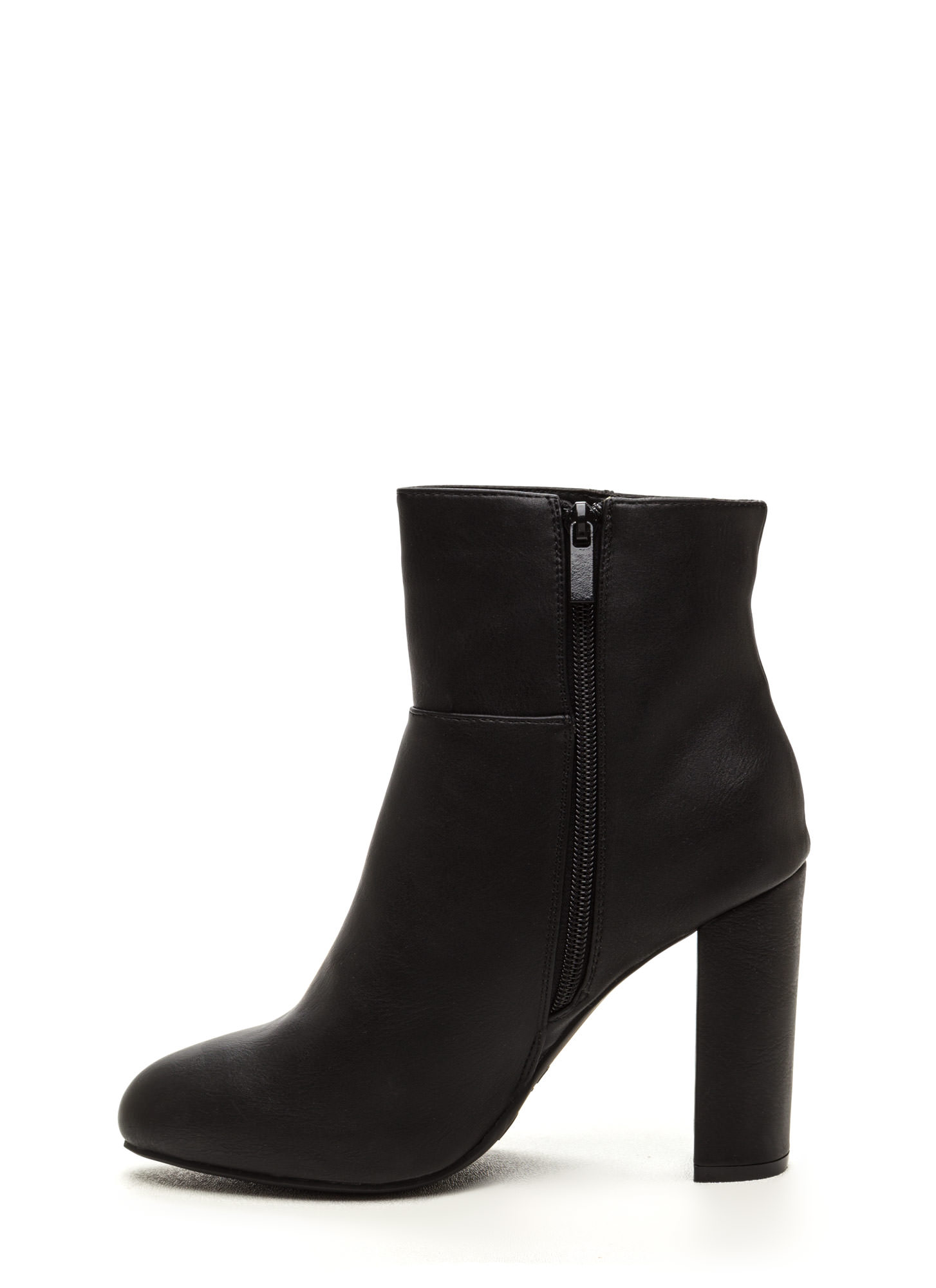High Standard Faux Leather Booties BLACK