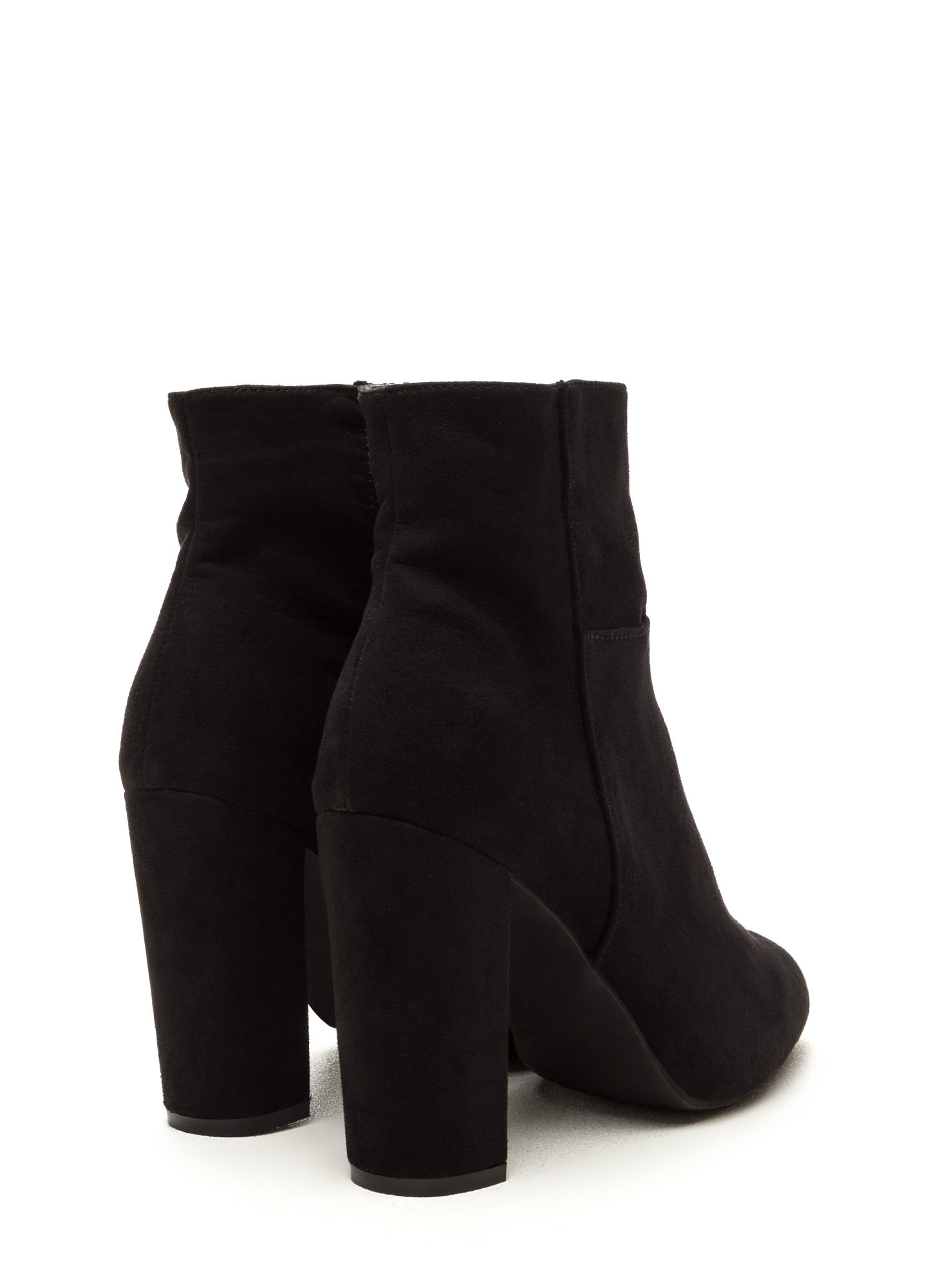 High Standards Faux Suede Booties BLACK