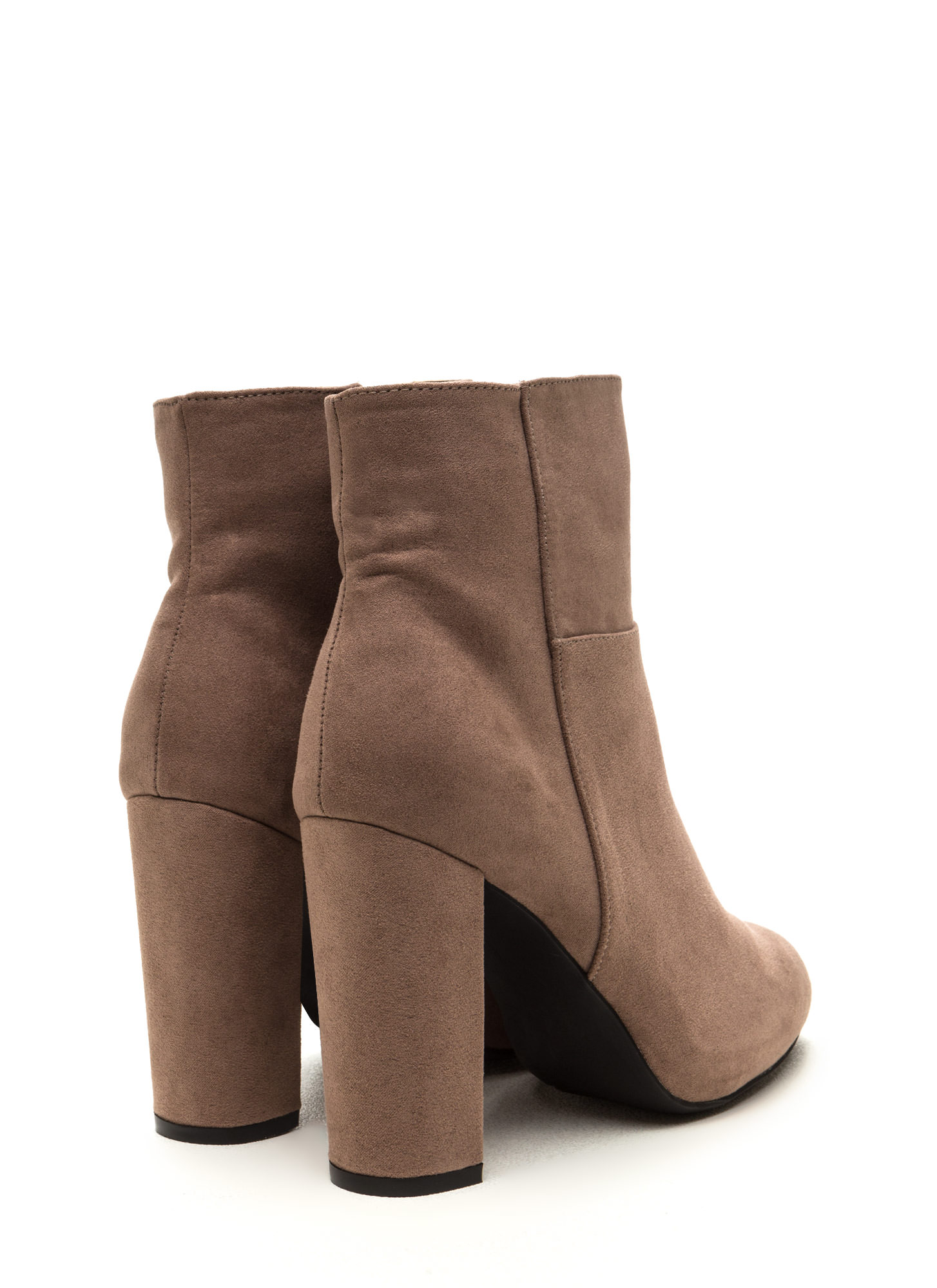 High Standards Faux Suede Booties TAUPE