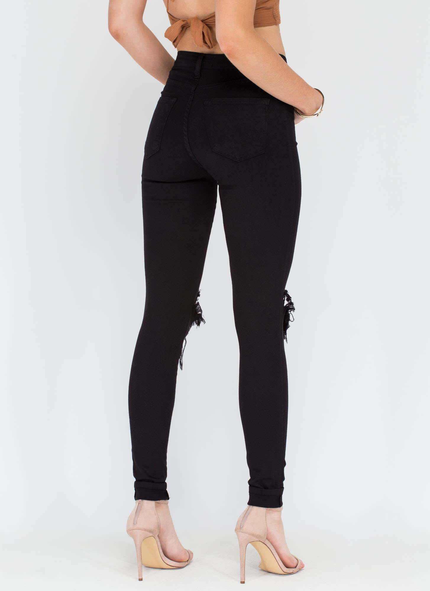 Make The Cut-Out Distressed Skinny Jeans BLACK