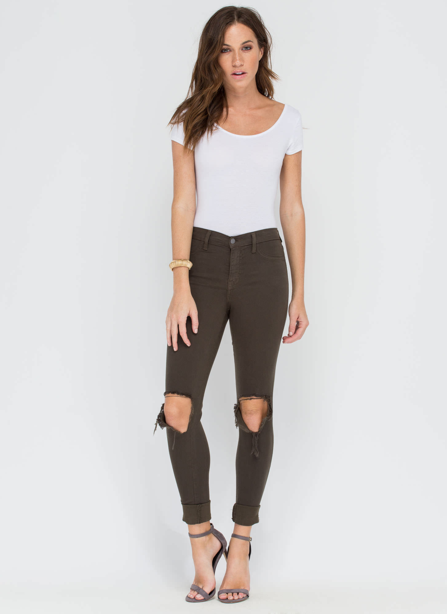 Make The Cut-Out Distressed Skinny Jeans OLIVE