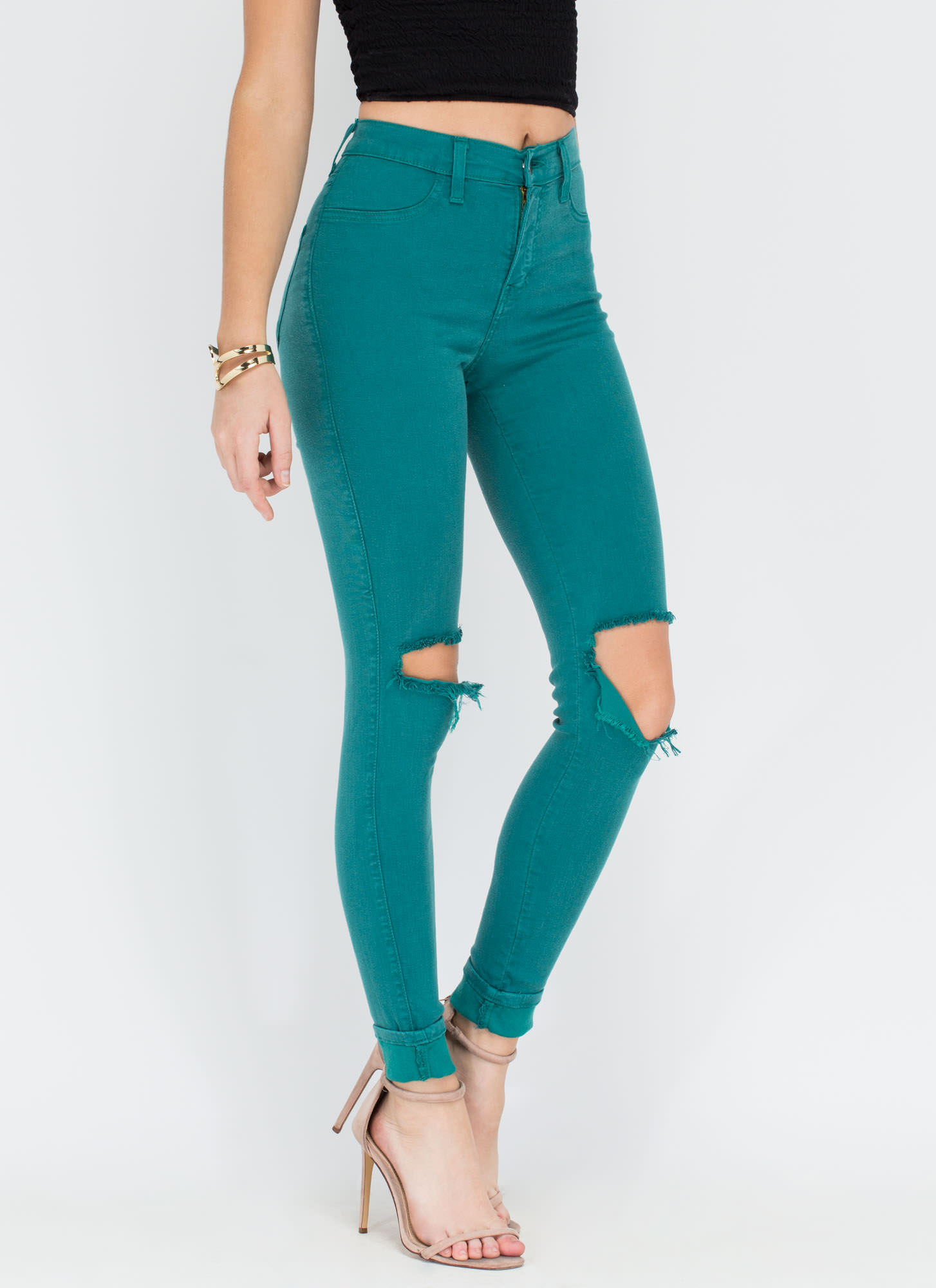 Make The Cut-Out Distressed Skinny Jeans TEAL