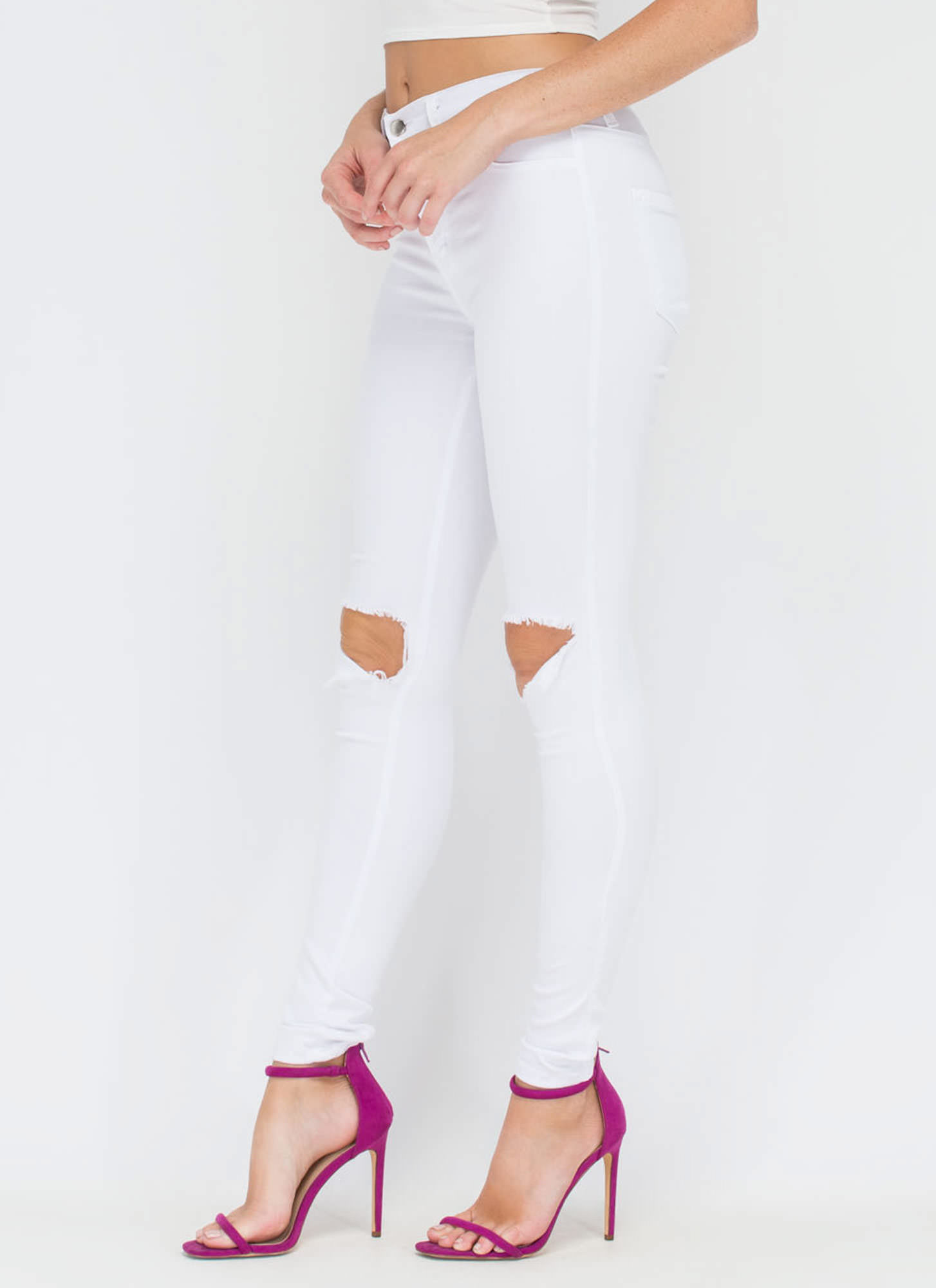 Make The Cut-Out Distressed Skinny Jeans WHITE