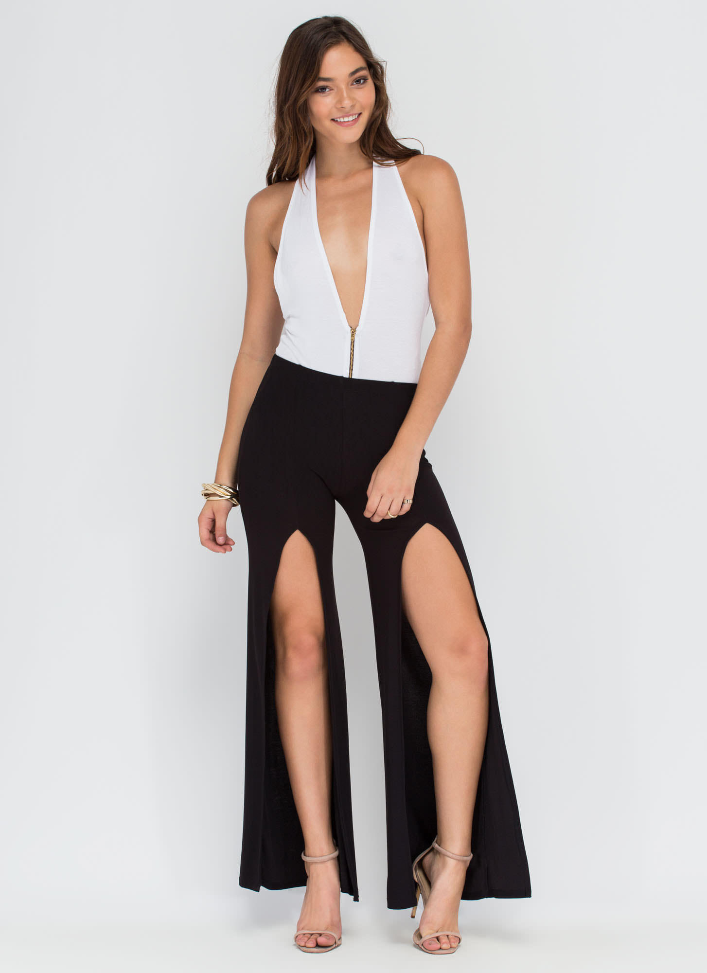 True Slit Flared Pants BLACK