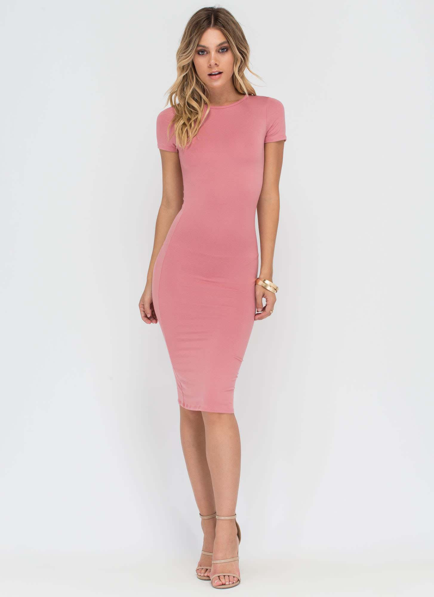 Light Pink Dress With Black Heels