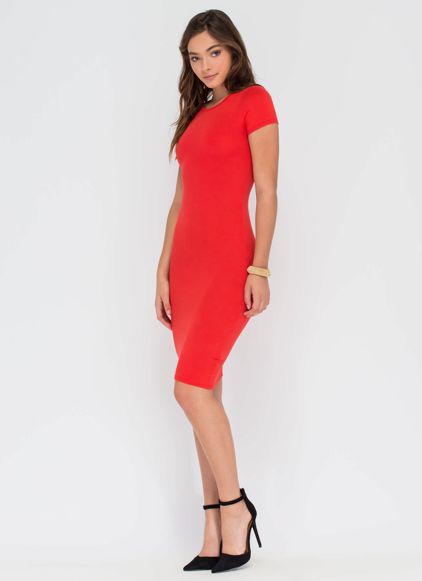 Fits You To A T-Shirt Midi Dress RED