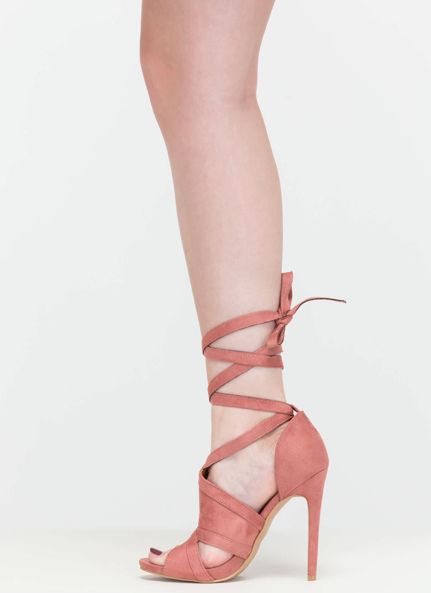Rip Tied Faux Suede Tie-Up Heels BLUSH