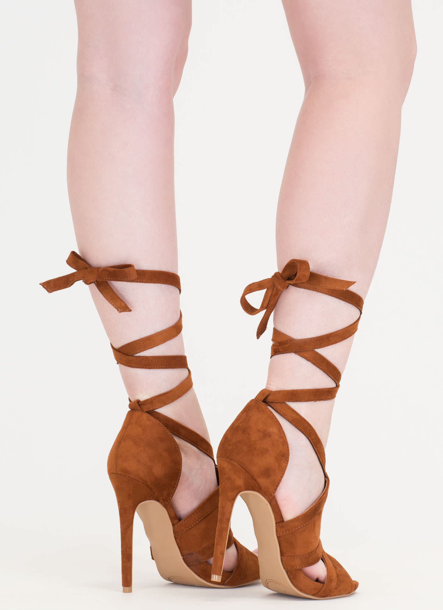 Rip Tied Faux Suede Tie-Up Heels CHESTNUT