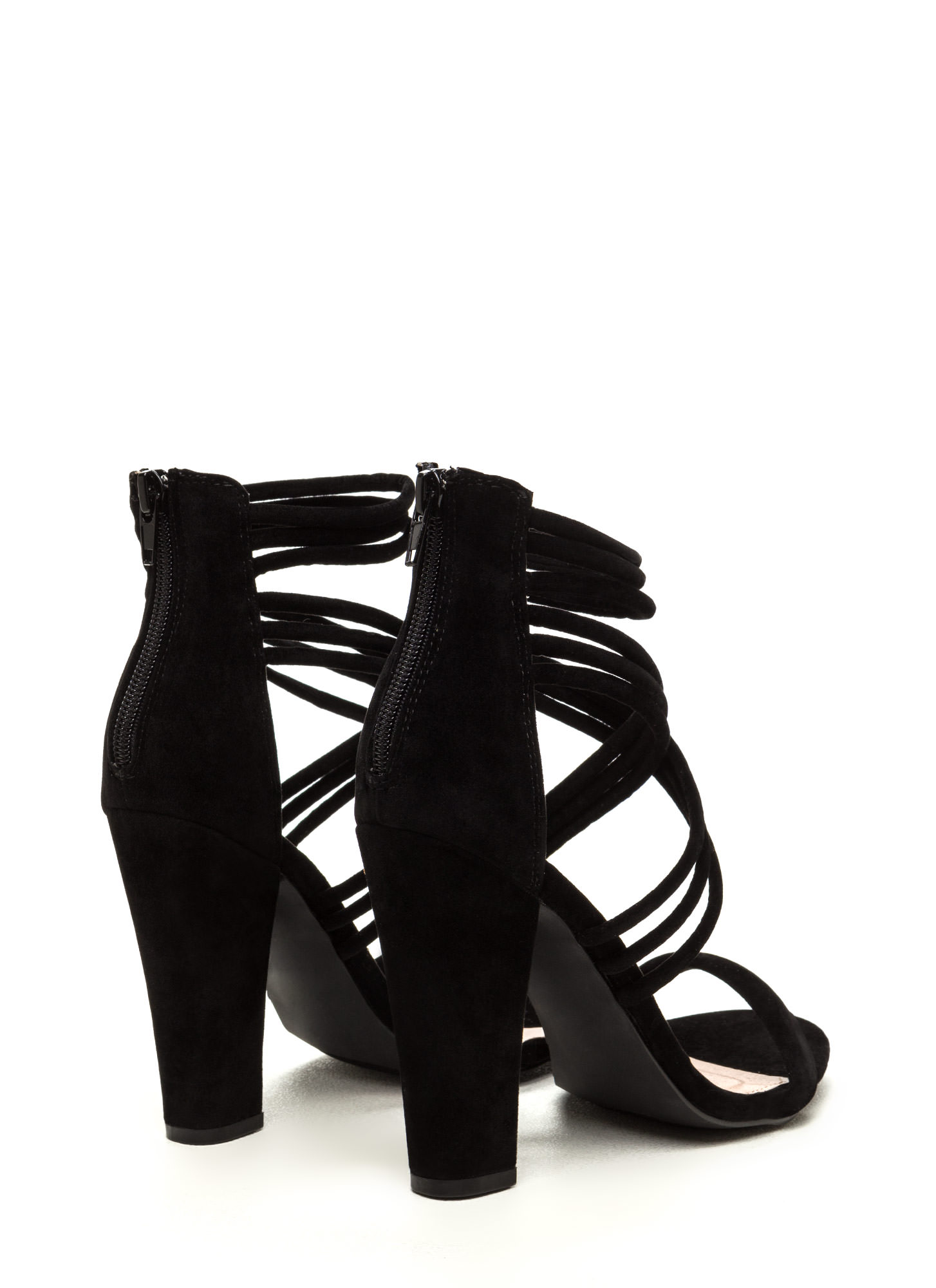 Strappy Camper Faux Suede Chunky Heels BLACK