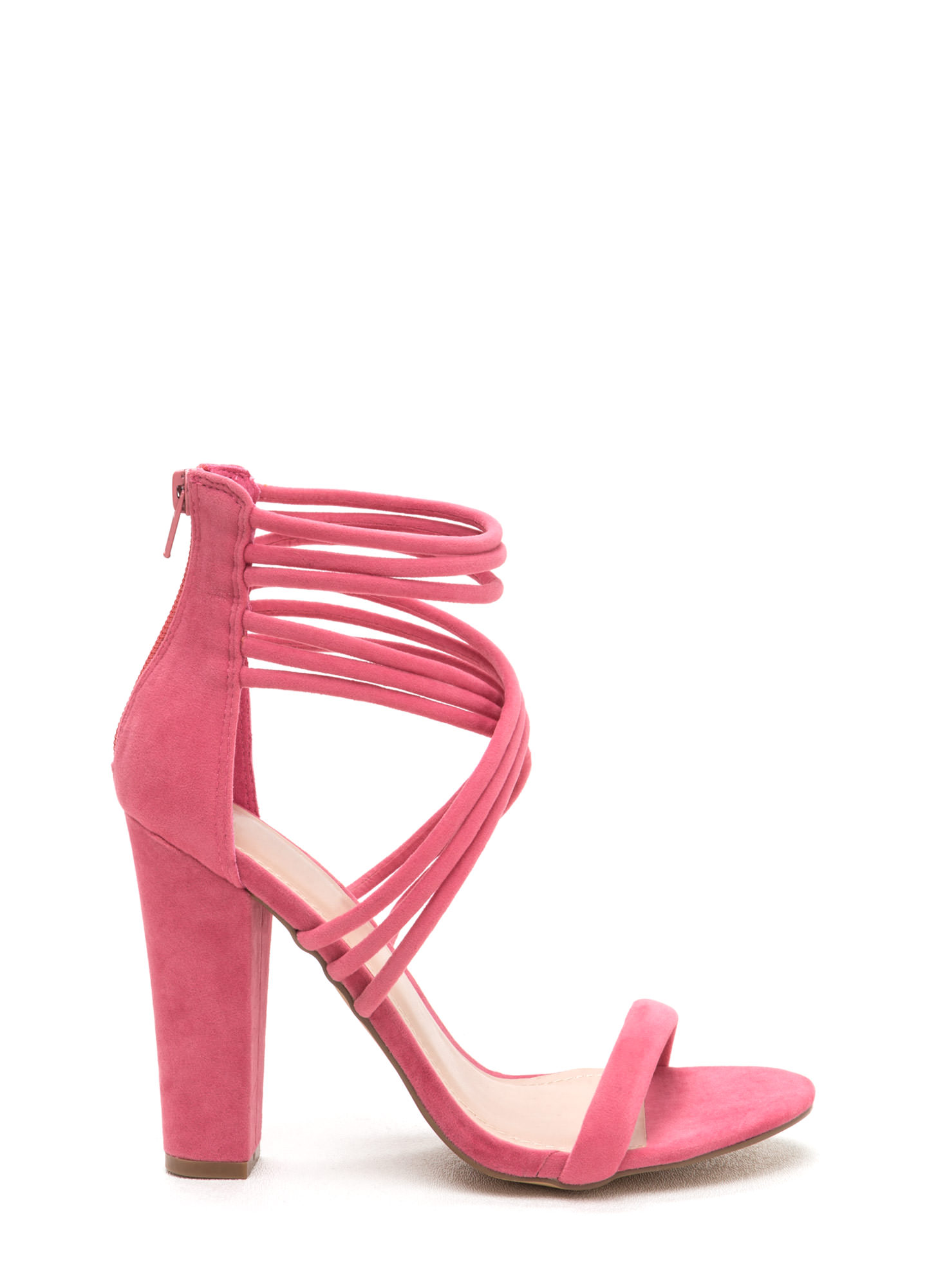 Strappy Camper Faux Suede Chunky Heels CORAL
