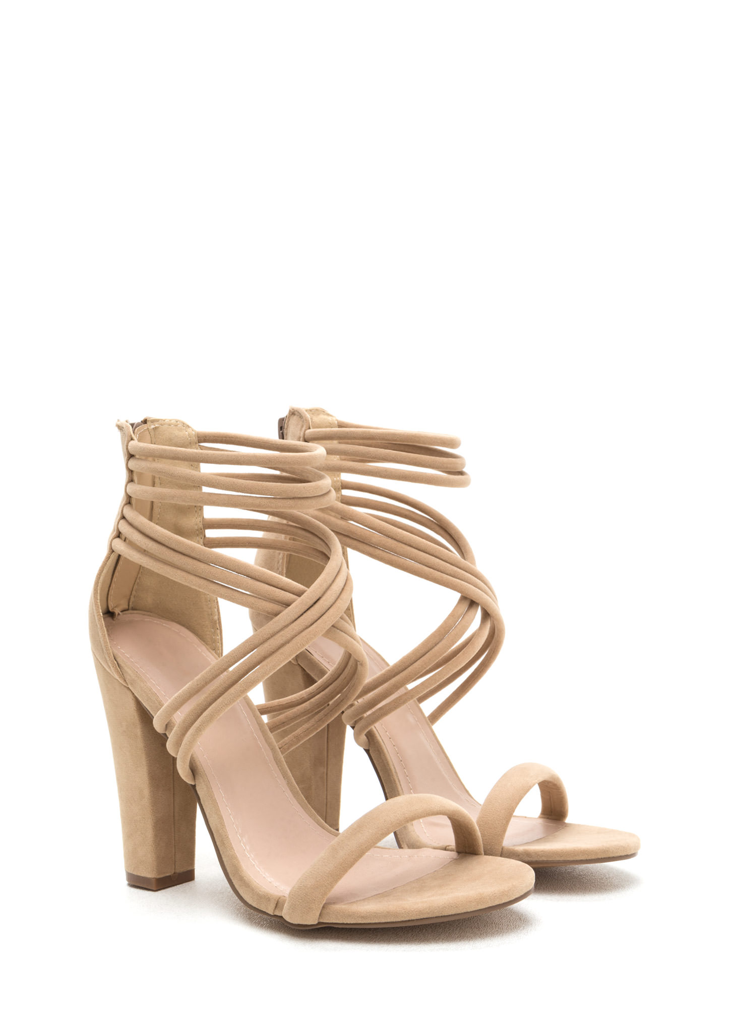 Strappy Camper Faux Suede Chunky Heels NUDE