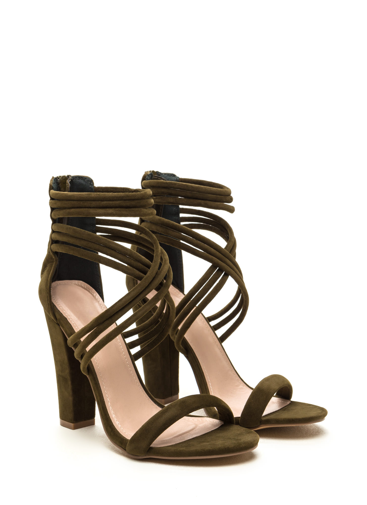 Strappy Camper Faux Suede Chunky Heels OLIVE