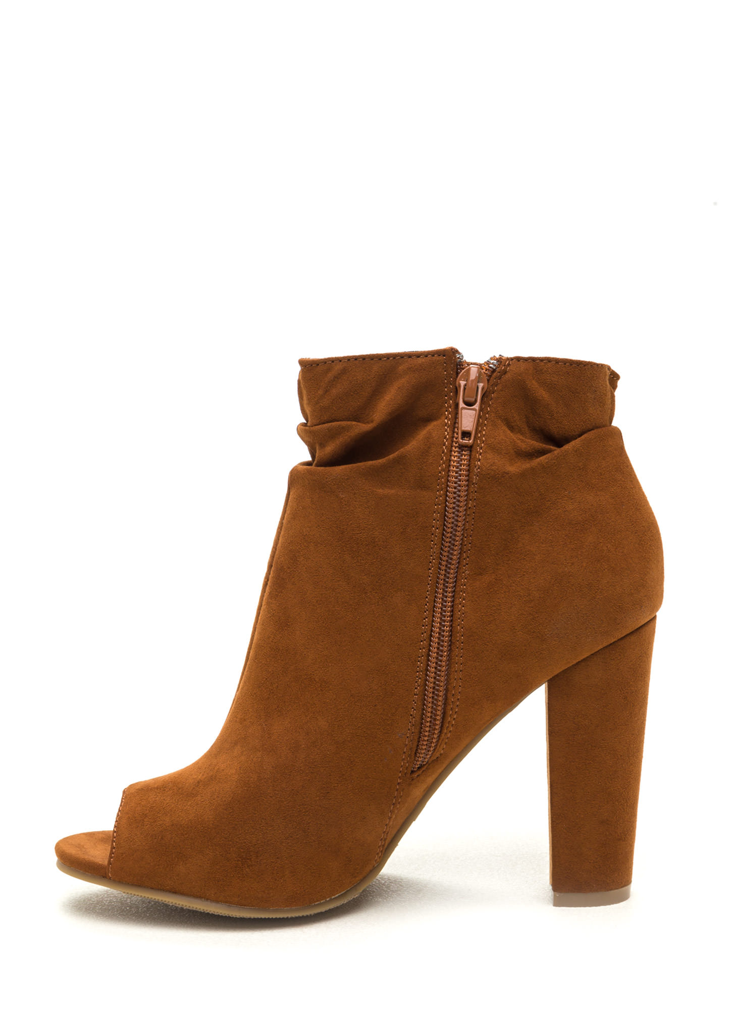 Fashion Fundamental Faux Suede Booties CHESTNUT