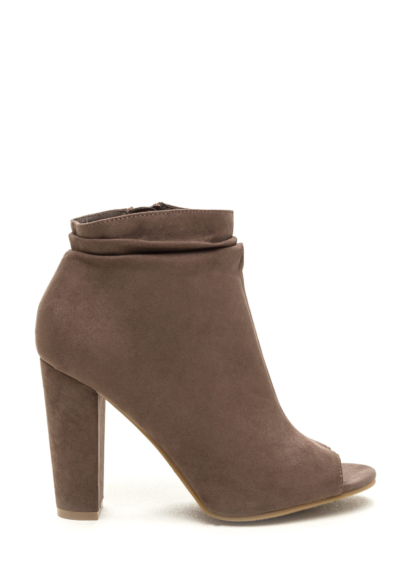 Fashion Fundamental Faux Suede Booties TAUPE