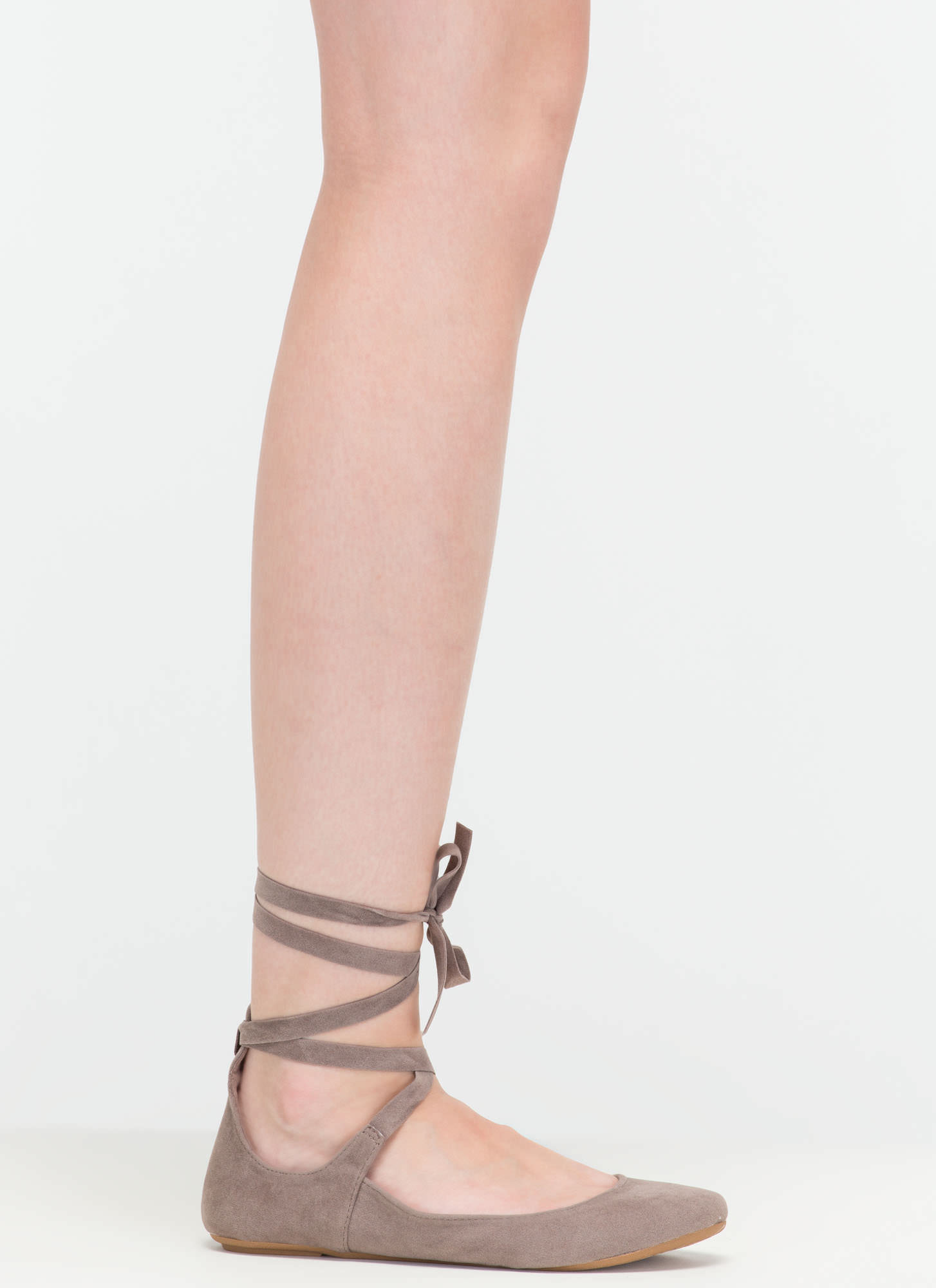 Barre Class Faux Suede Ballet Flats TAUPE