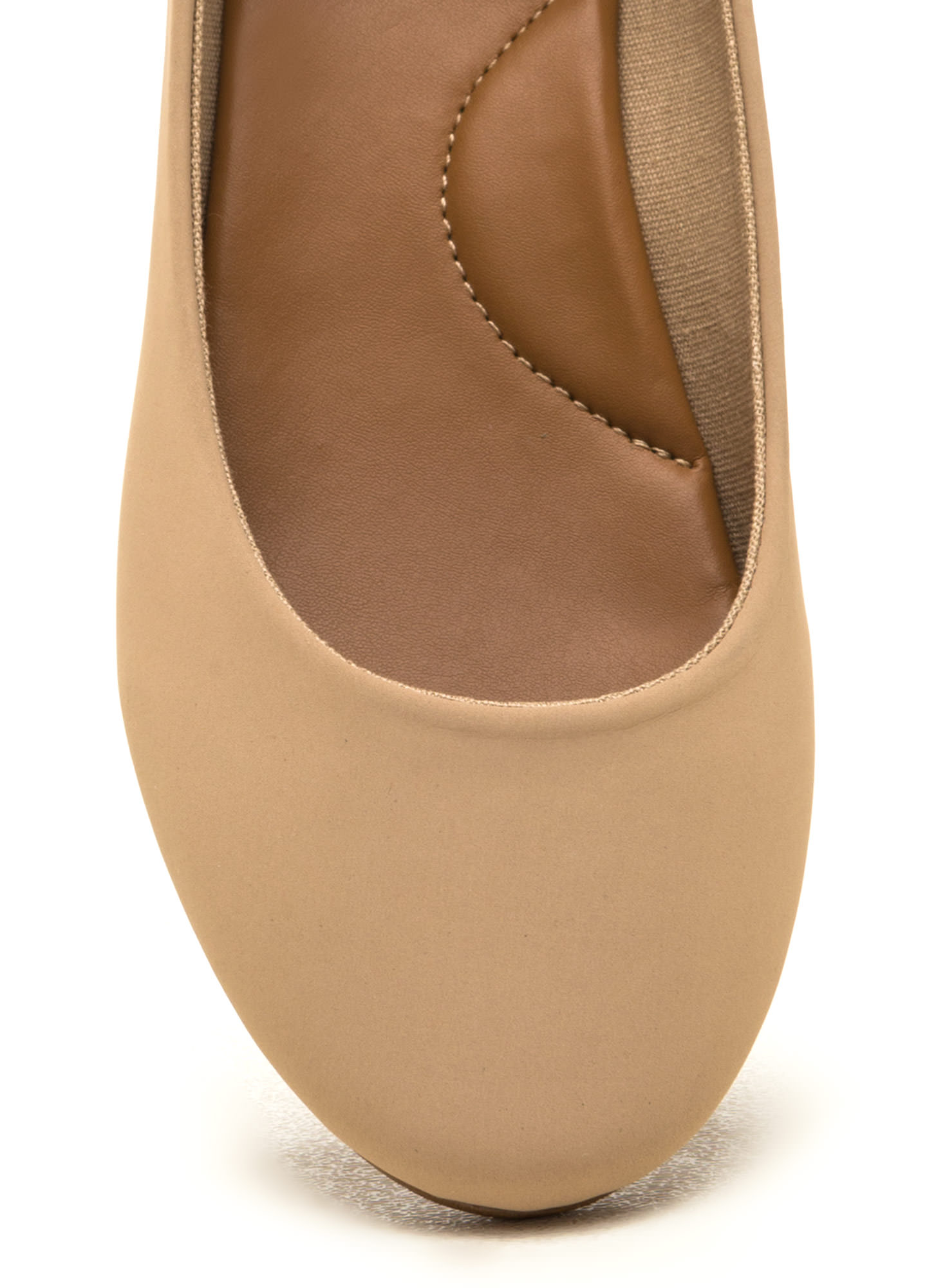 Lady And The Strap Faux Nubuck Flats NUDE