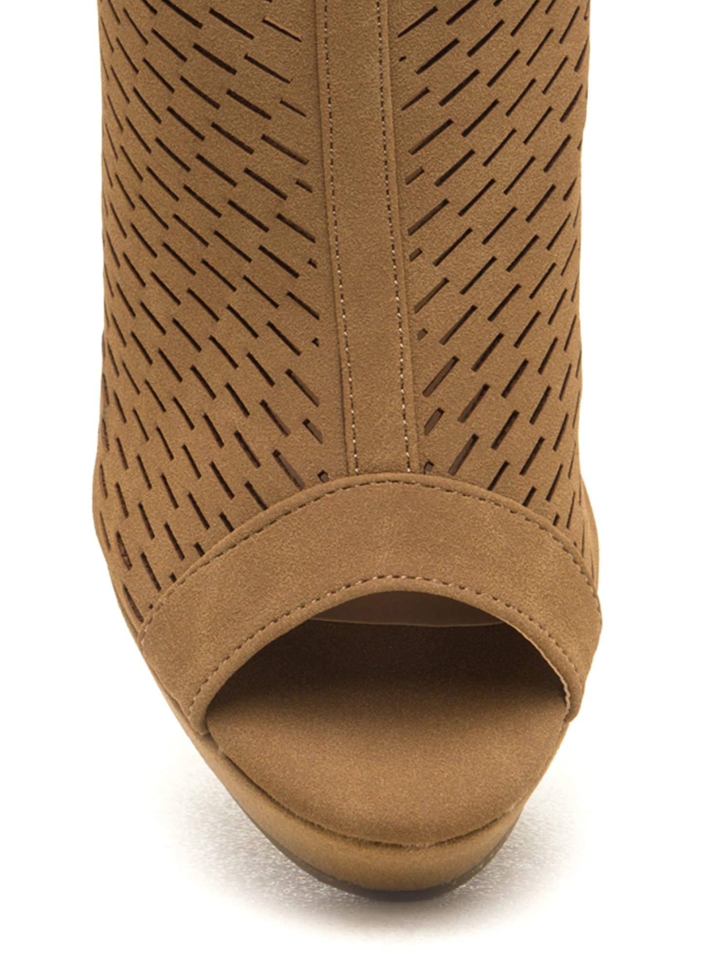 Hole-ier Than Thou Perforated Wedges TAN