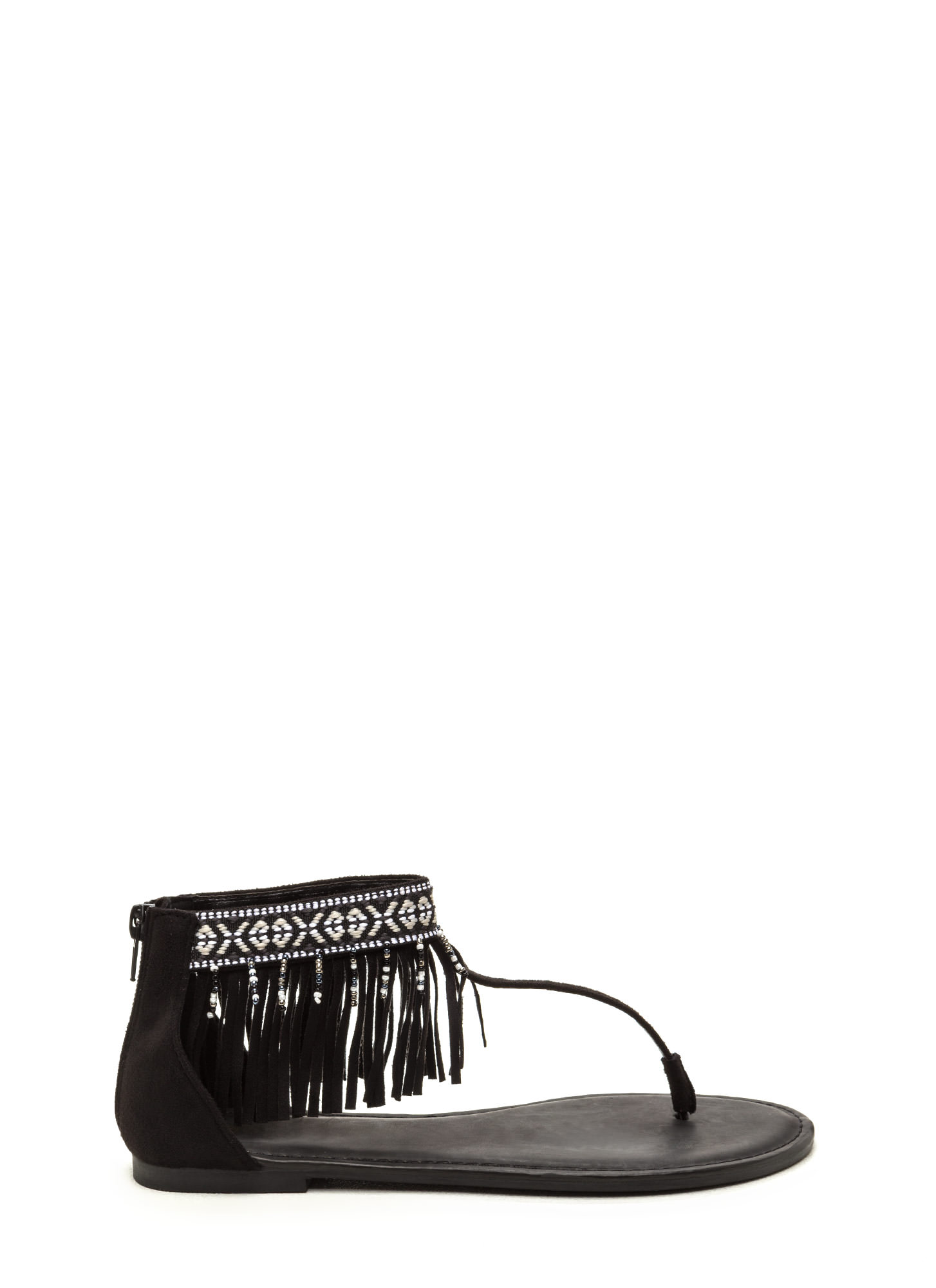 Southwest Explorer Fringed Sandals BLACK