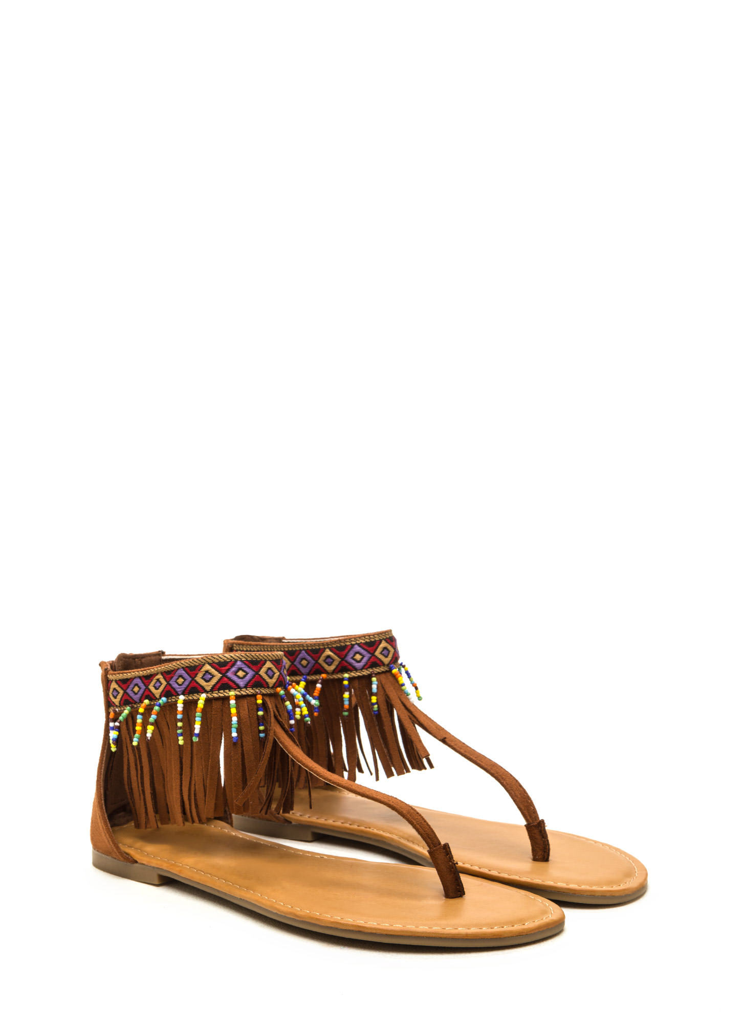 Southwest Explorer Fringed Sandals CHESTNUT