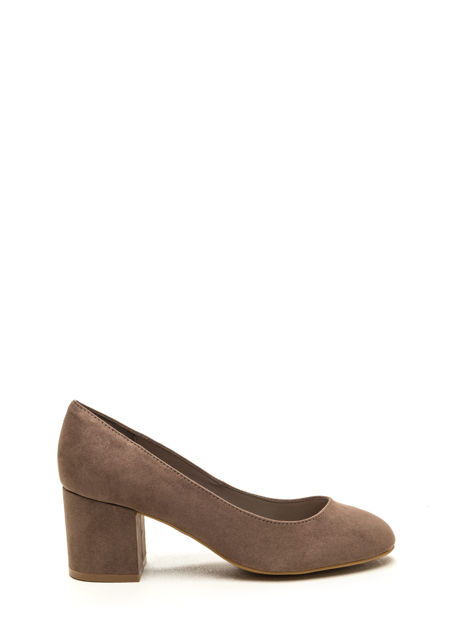 Office Chic Chunky Block Pumps TAUPE