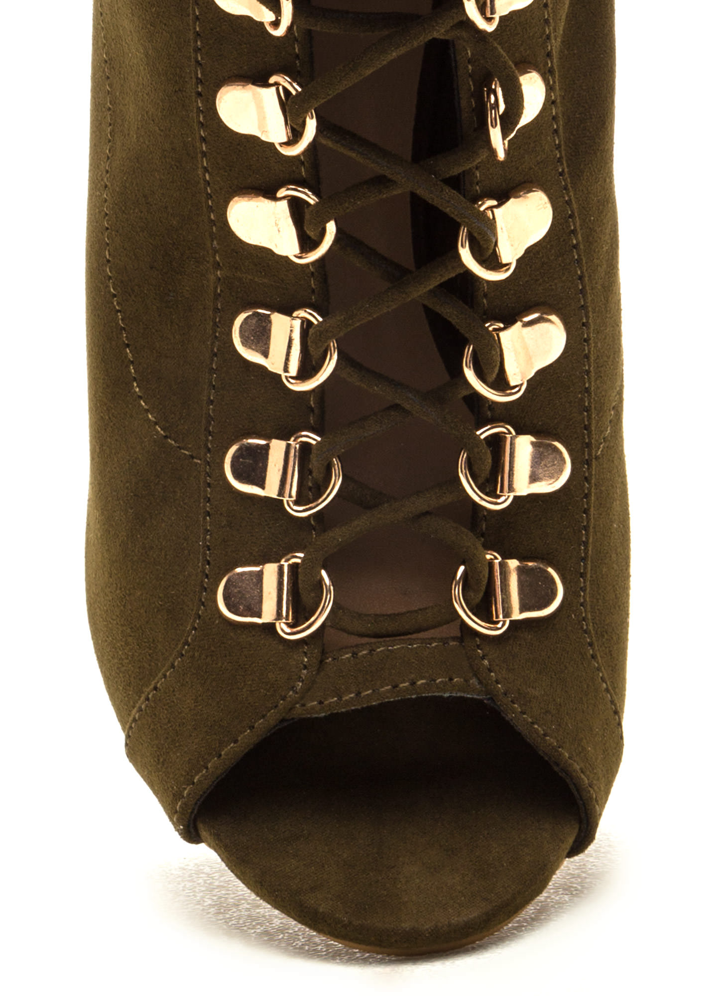 Strut Your Stuff Lace-Up Booties OLIVE