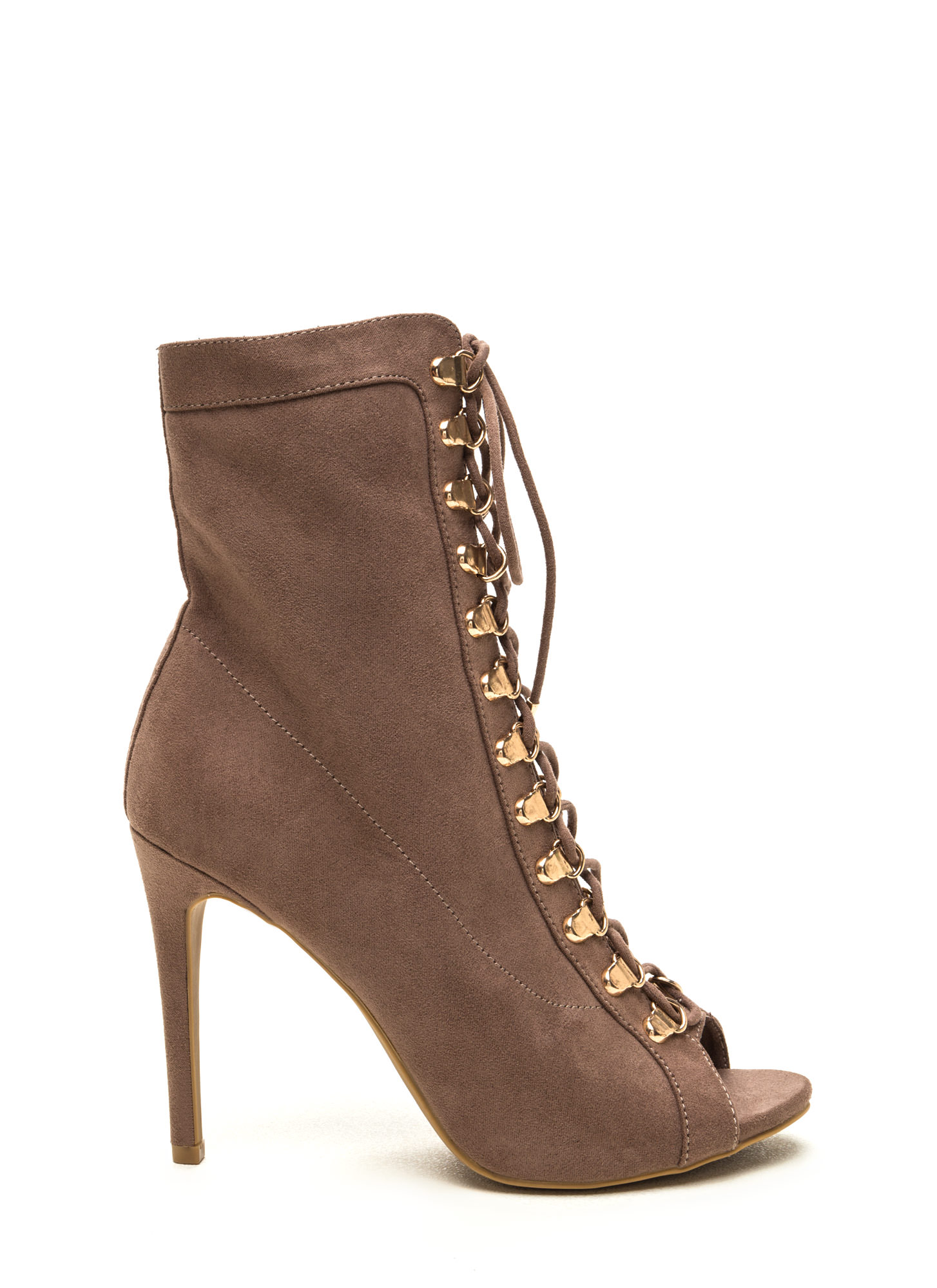 Strut Your Stuff Lace-Up Booties TAUPE