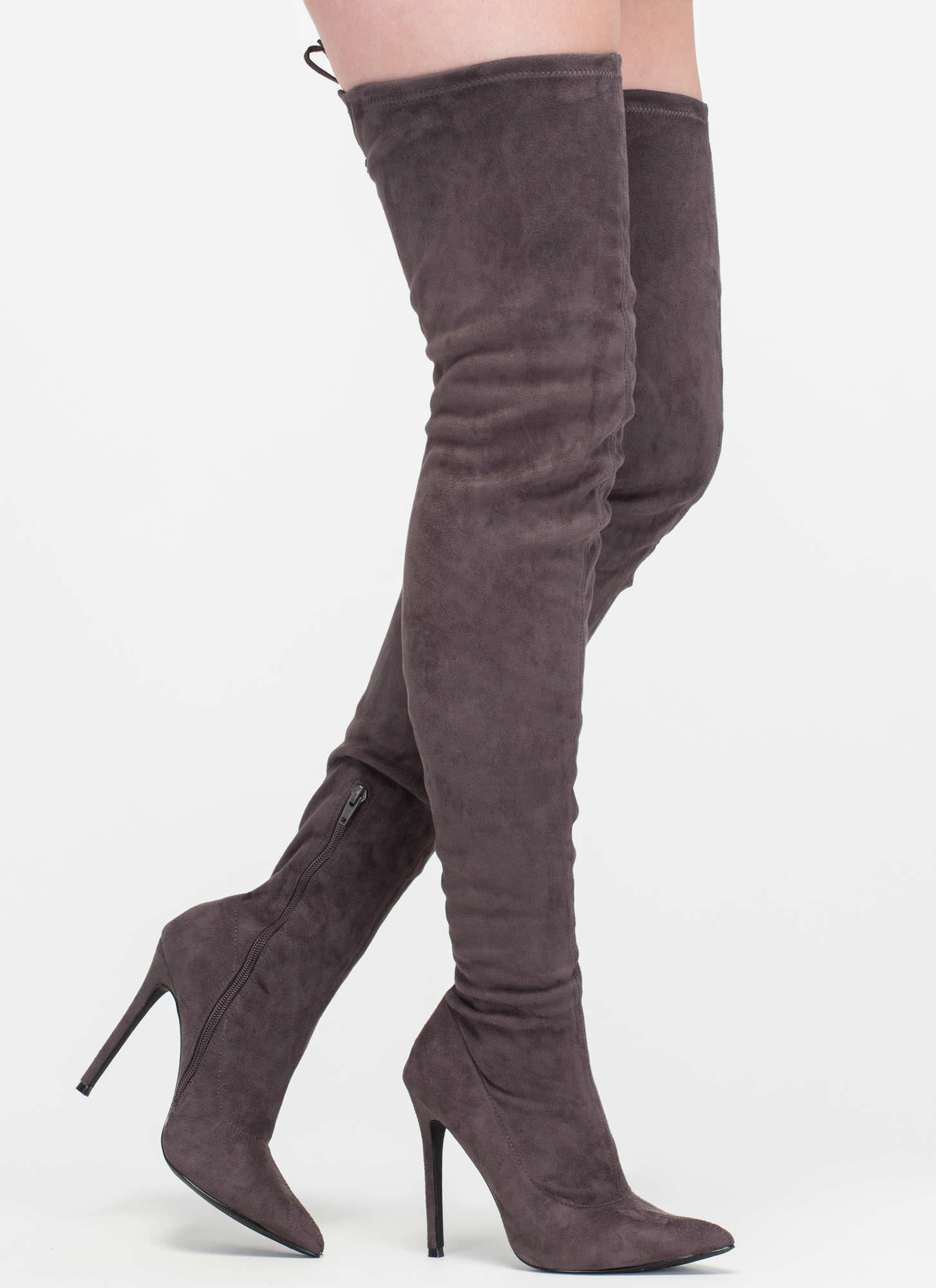 crush faux suede thigh high boots olive maroon black