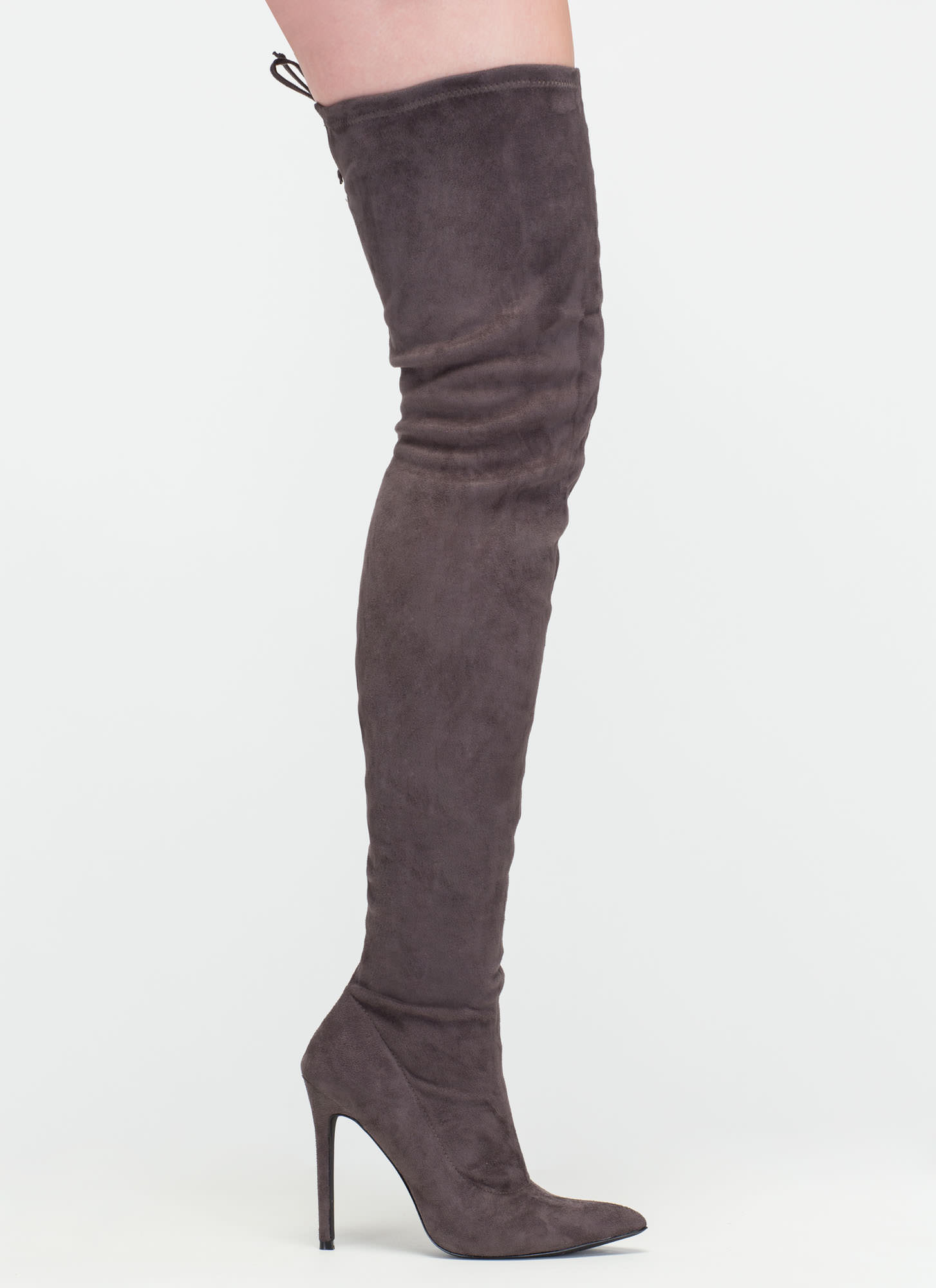 Crush Hard Faux Suede Thigh-High Boots GREY