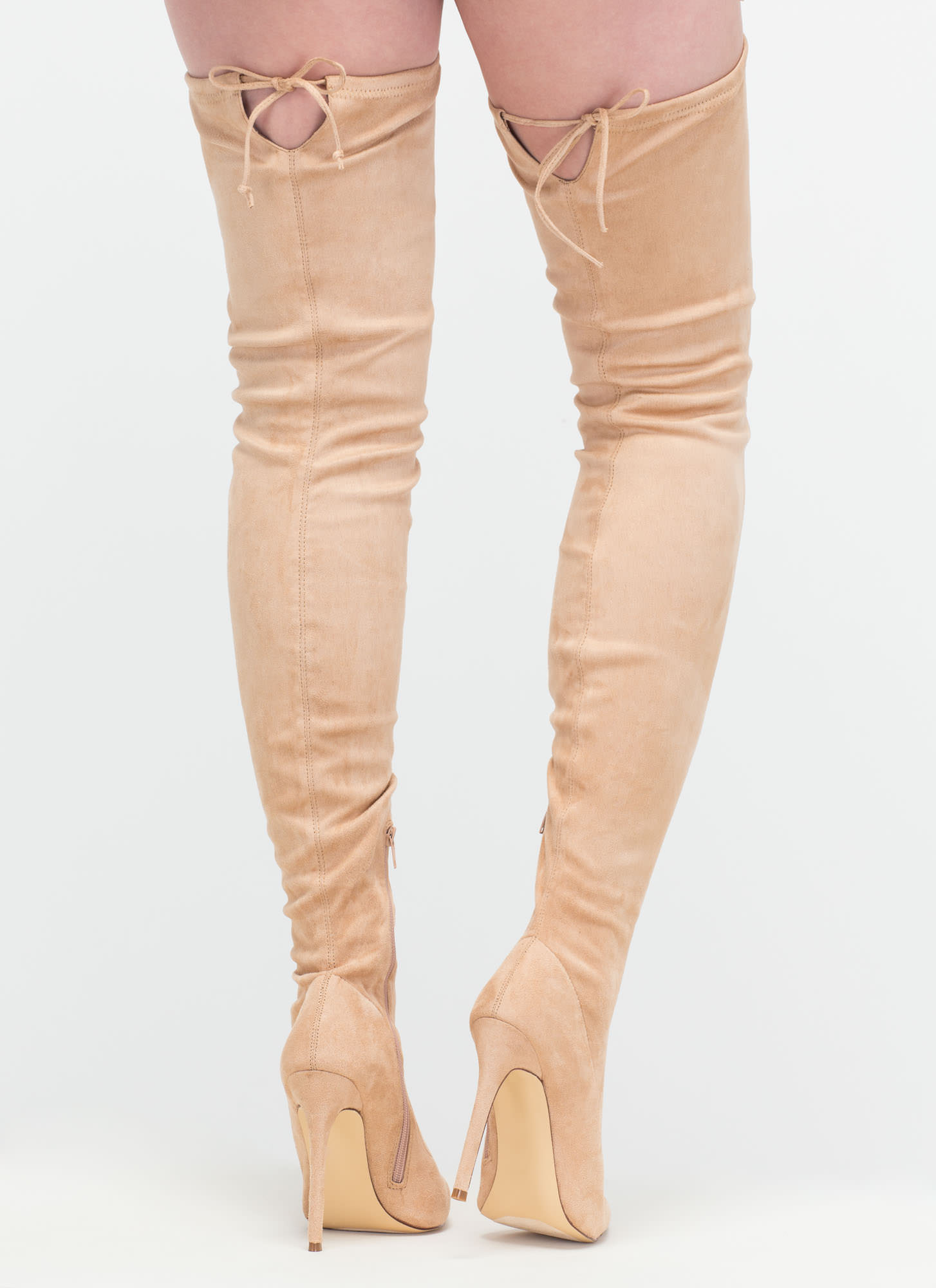 Crush Hard Faux Suede Thigh-High Boots NUDE