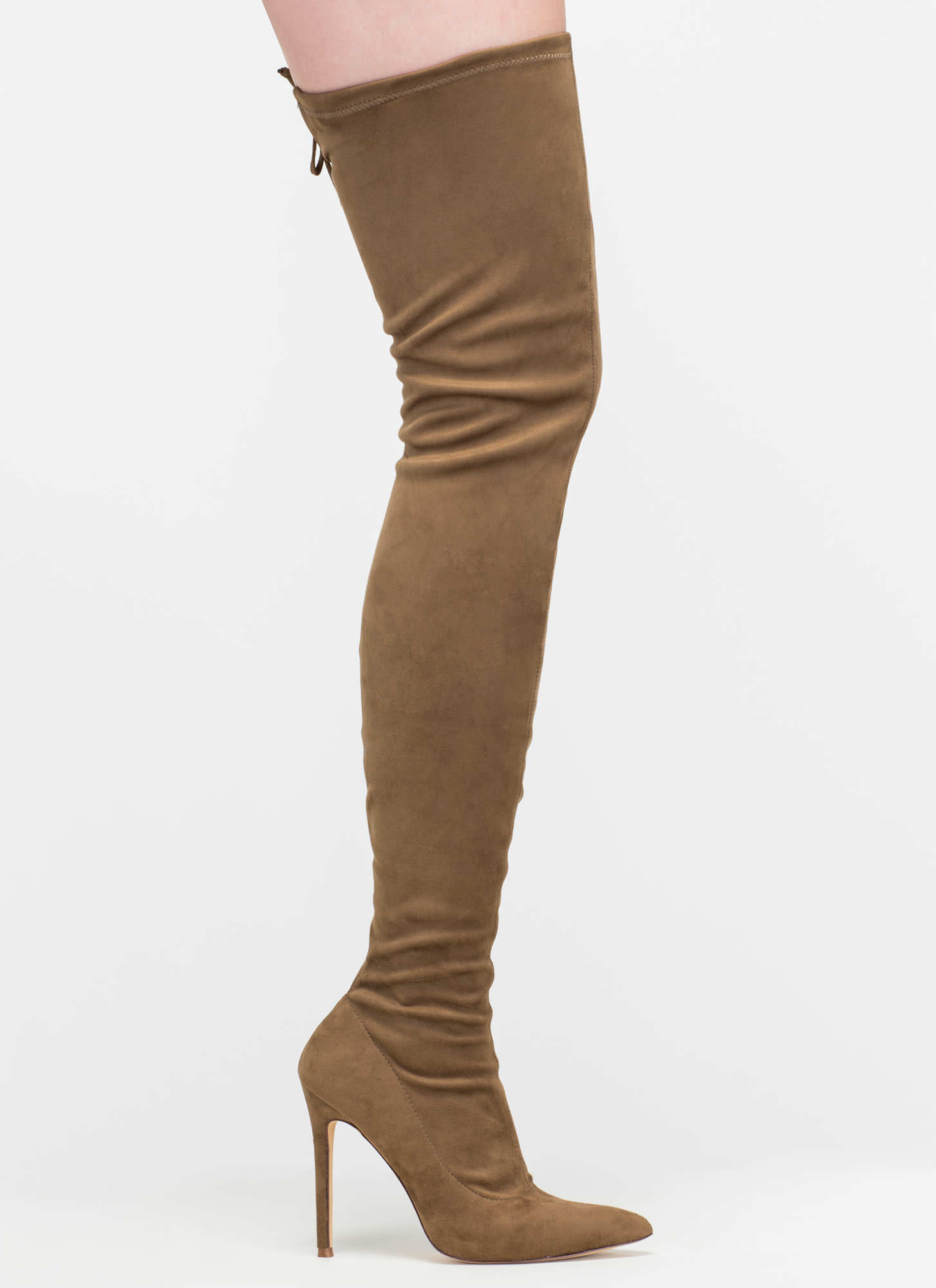 Crush Hard Faux Suede Thigh-High Boots OLIVE