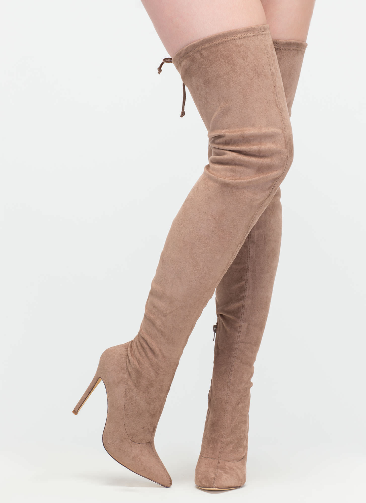 Crush Hard Faux Suede Thigh-High Boots TAUPE