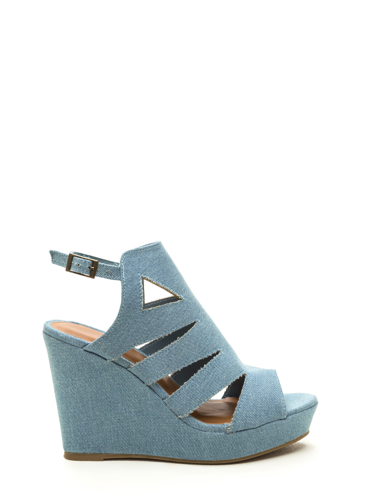 Day Glow Denim Cut-Out Wedges BLUE