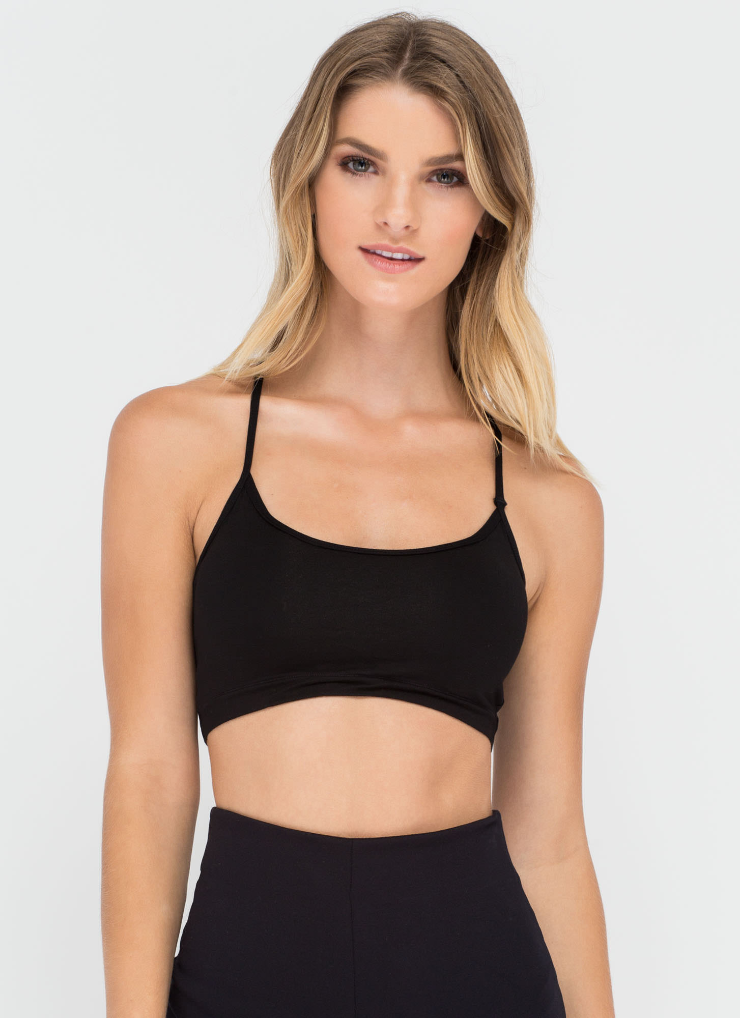 Strappy To See You Caged Back Bralette BLACK (Final Sale)