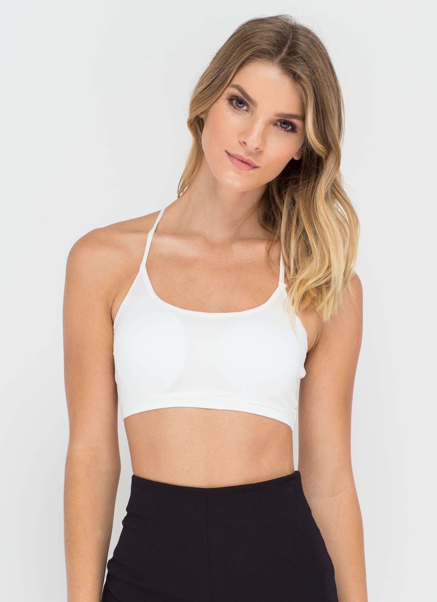 Strappy To See You Caged Back Bralette WHITE (Final Sale)