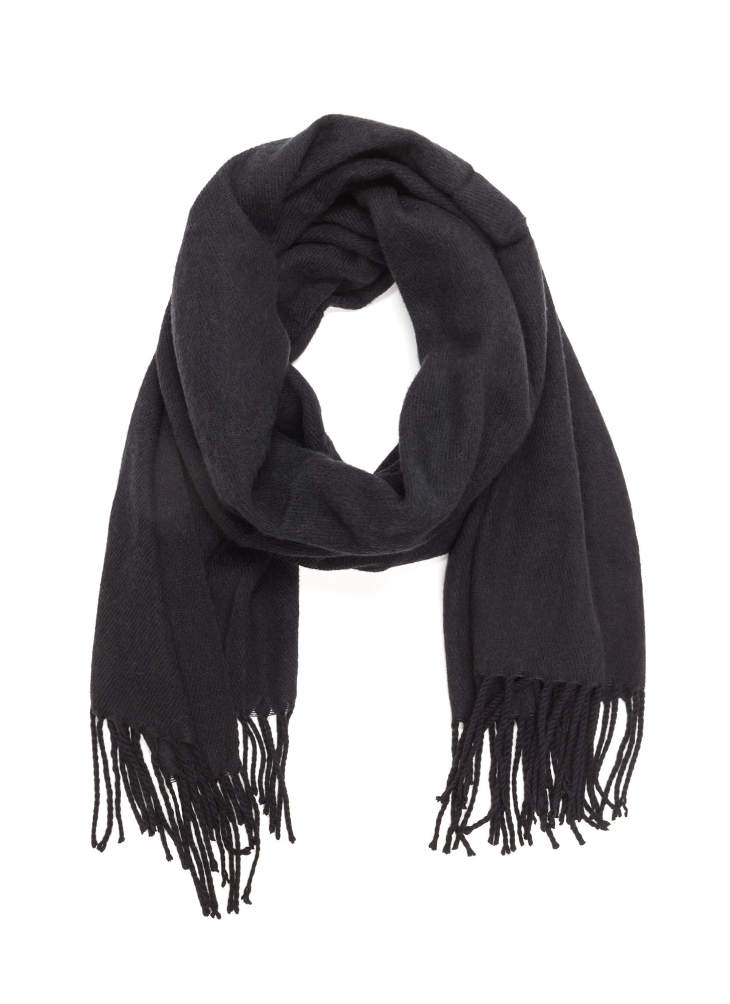 Executive Chic Fringed Scarf BLACK