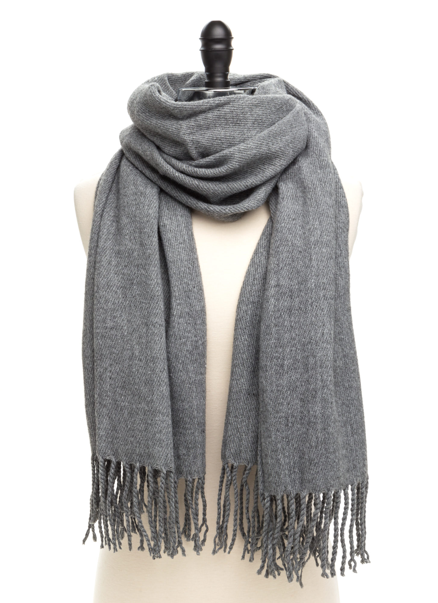Executive Chic Fringed Scarf GREY
