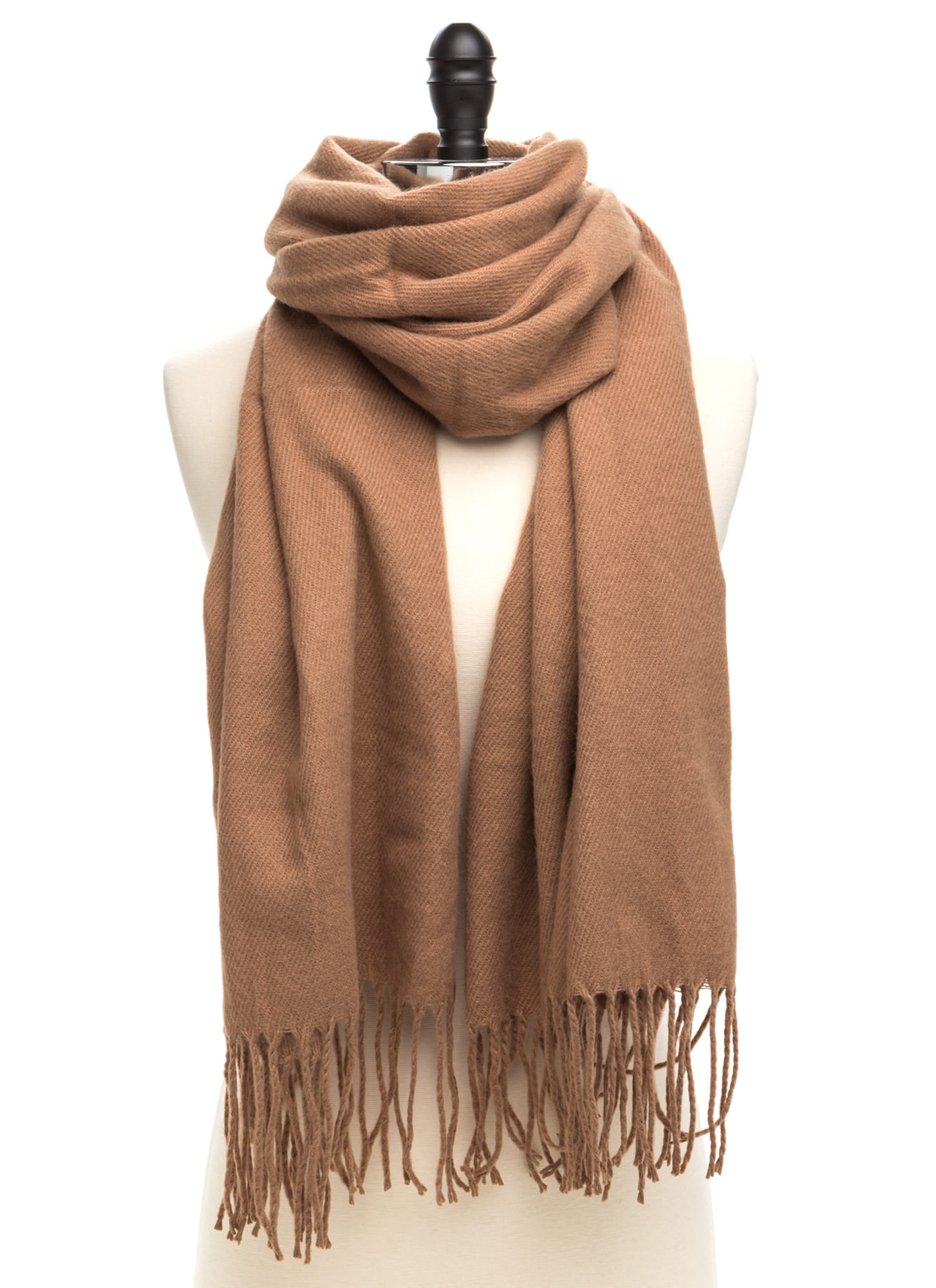 Executive Chic Fringed Scarf TAN