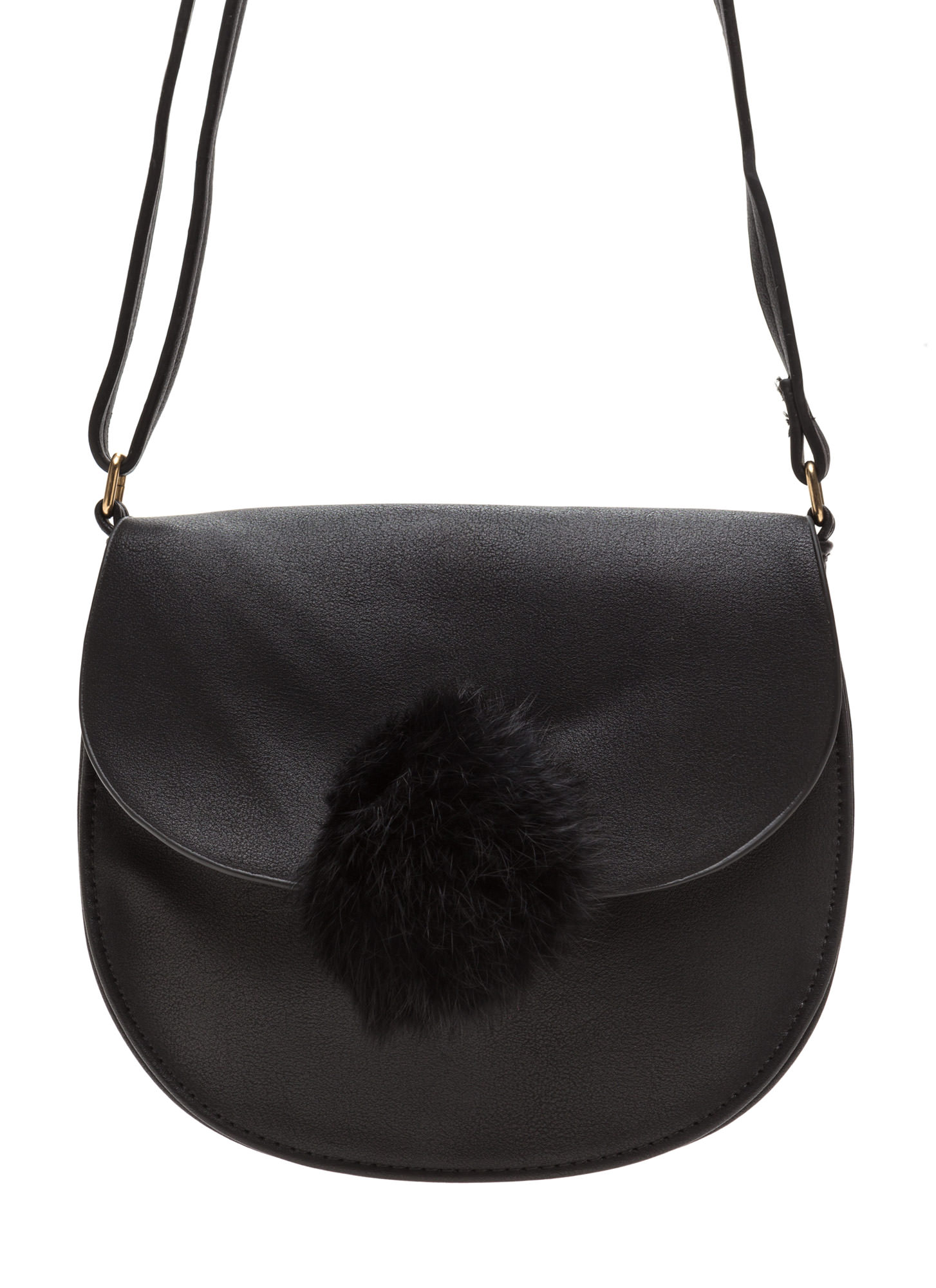 Fab 'N Fluffy Pom-Pom Saddle Bag BLACK