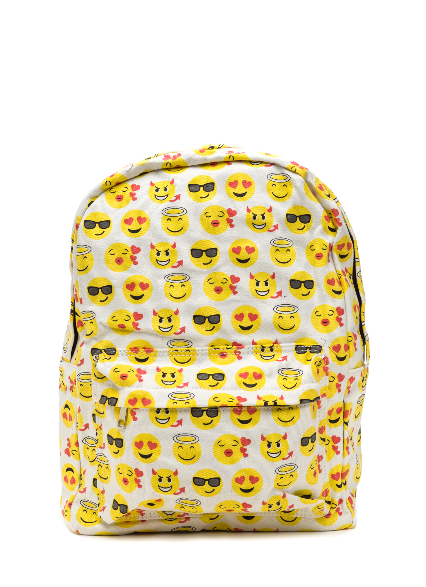 Choked By Emotion Printed Emoji Backpack WHITEMULTI