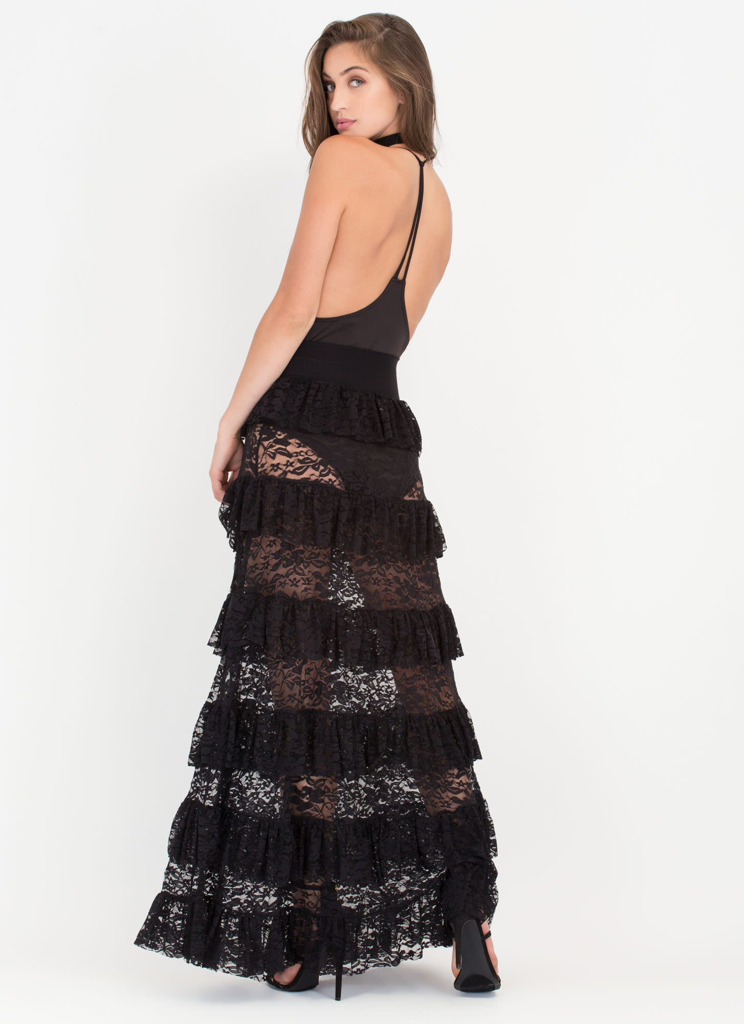Tier Up Ruffled Floral Lace Maxi Skirt BLACK