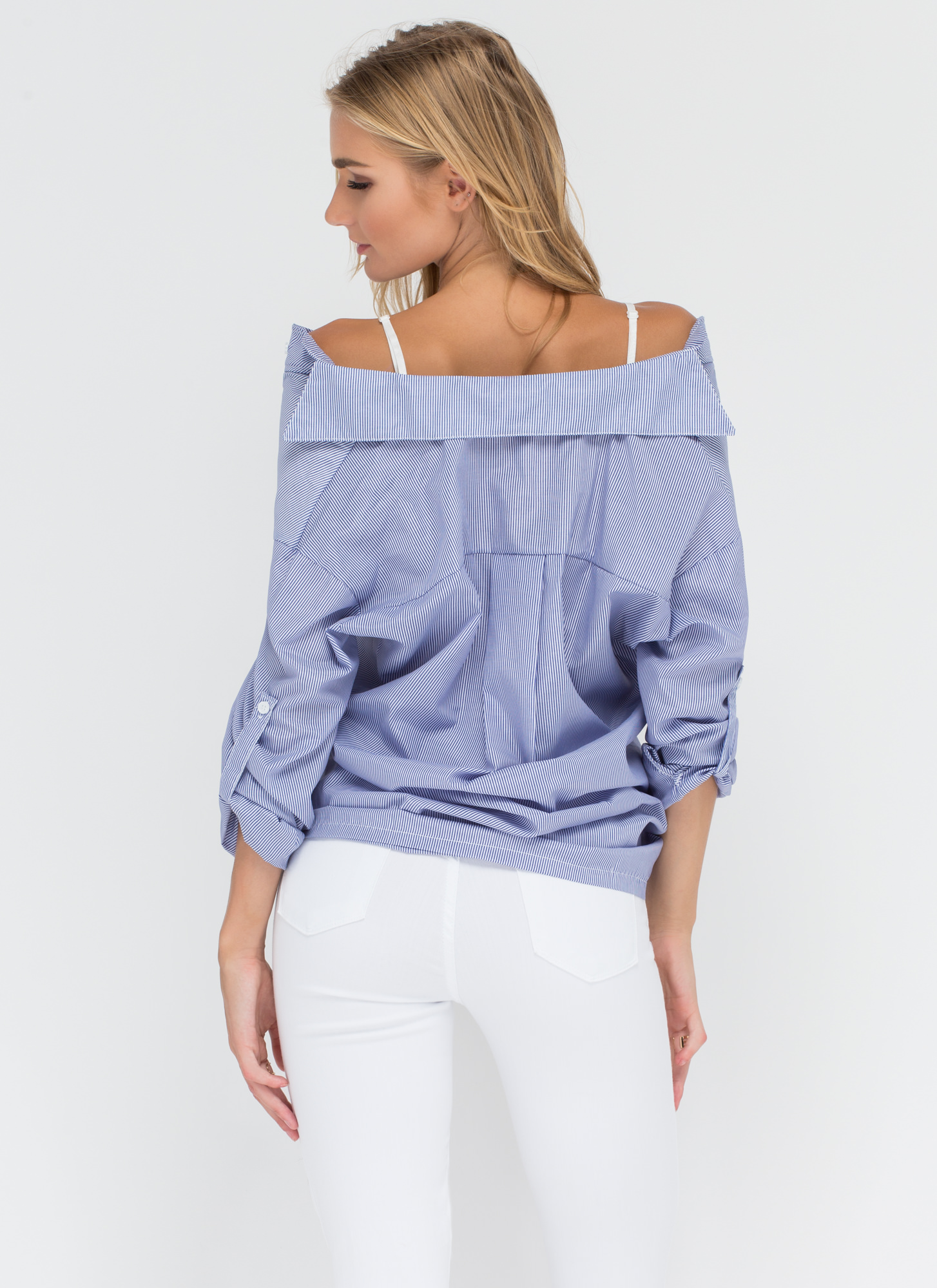 Business Casual Striped Off-Shoulder Top BLUE