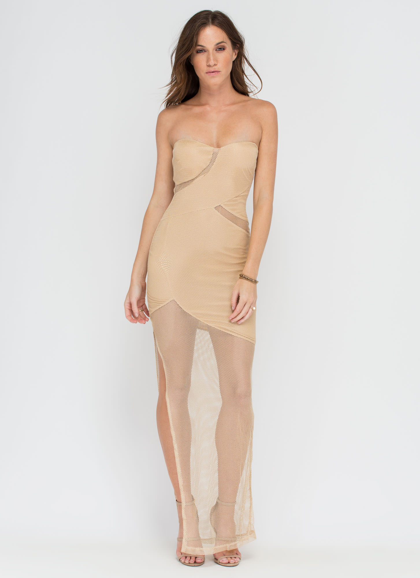 Nets Level Strapless Cut-Out Maxi GOLD