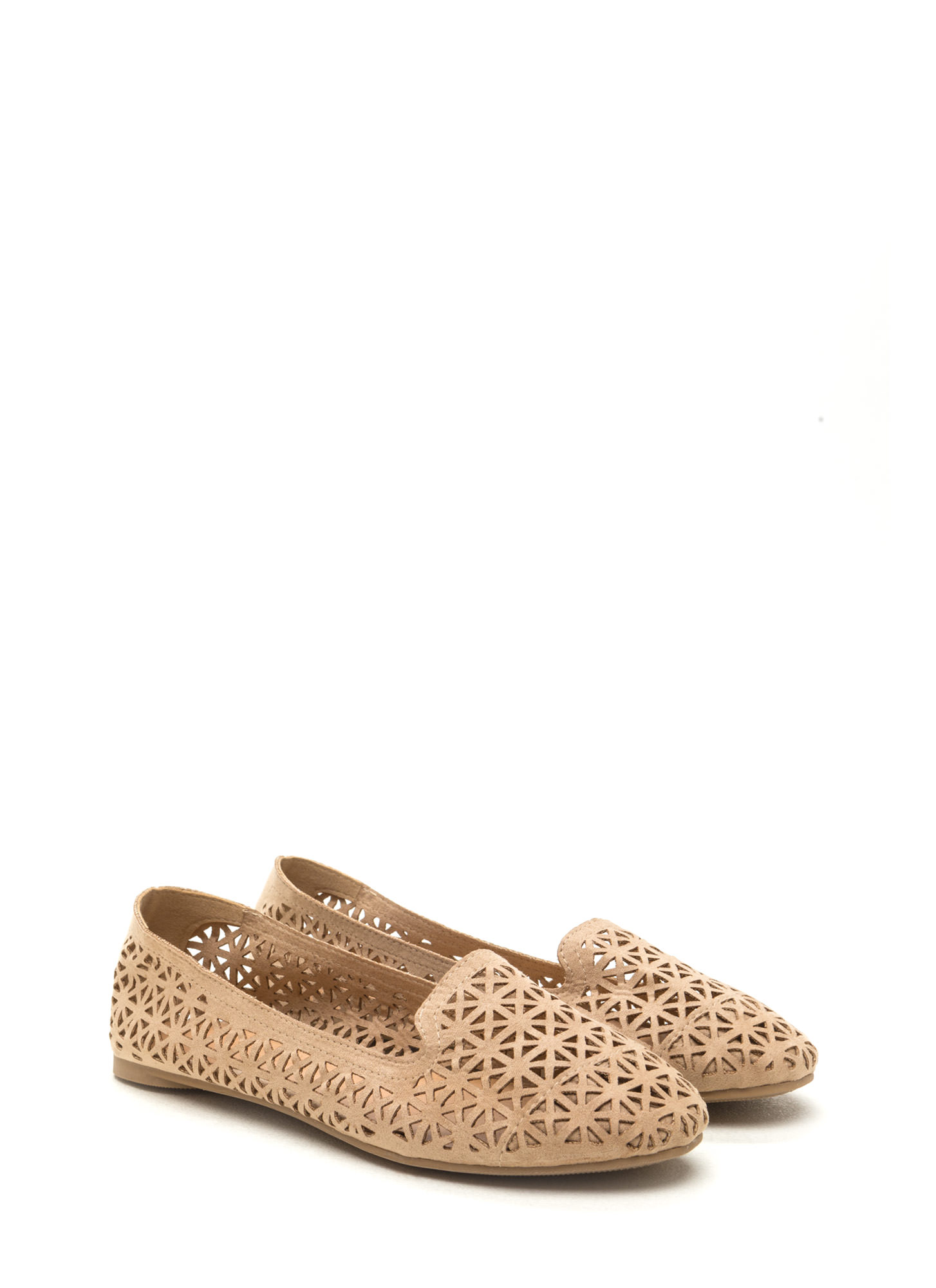 Stand Tall Cut-Out Faux Suede Flats NATURAL