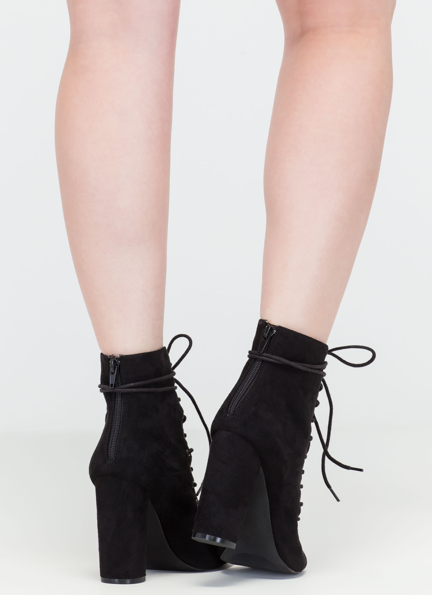 Laces On Laces Faux Suede Booties BLACK