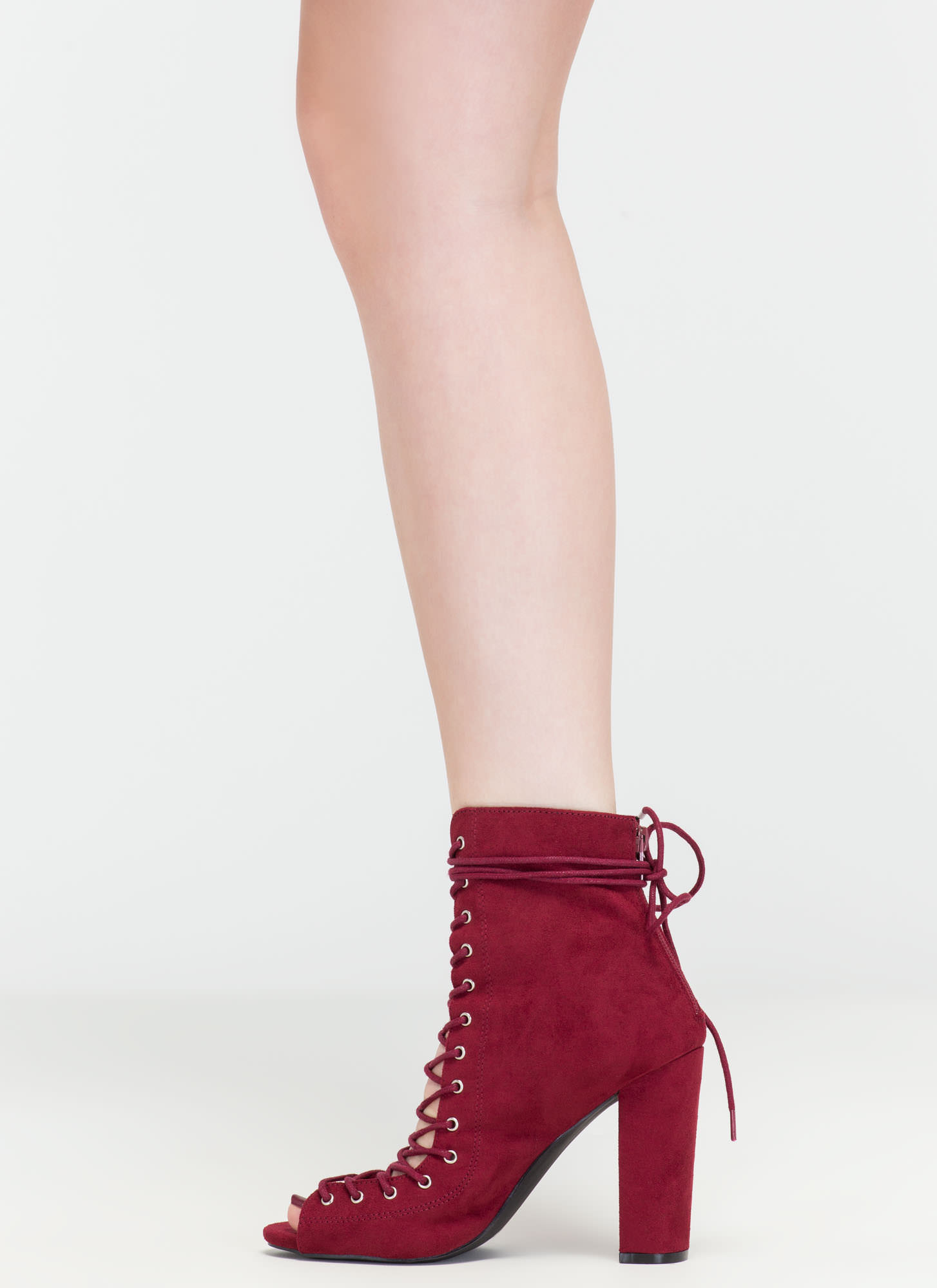 Laces On Laces Faux Suede Booties BURGUNDY