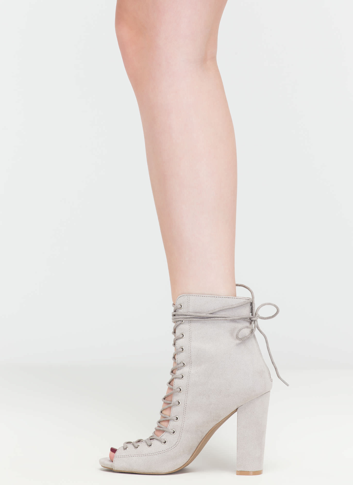 Laces On Laces Faux Suede Booties LTGREY