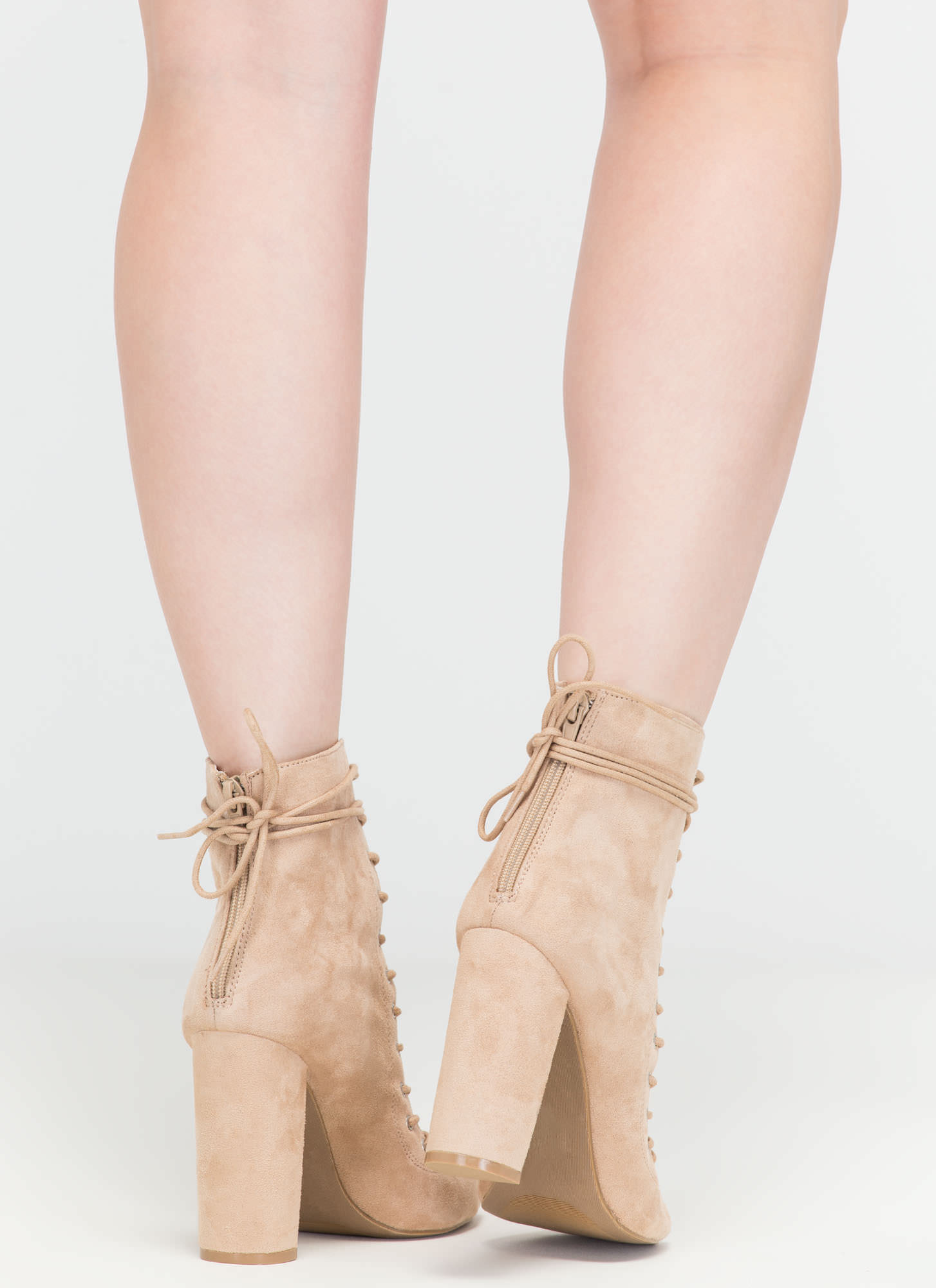 Laces On Laces Faux Suede Booties NATURAL