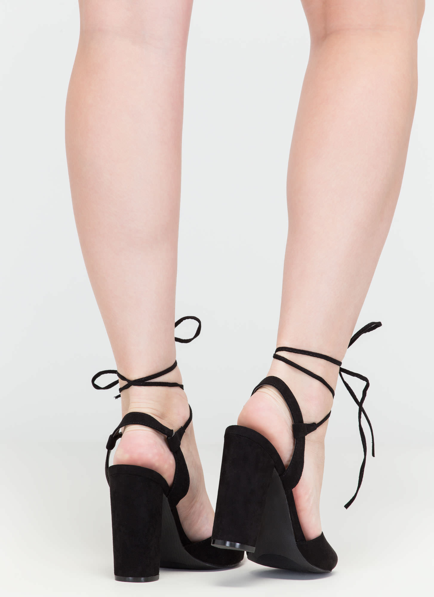 Peep In The Night Chunky Lace-Up Heels BLACK